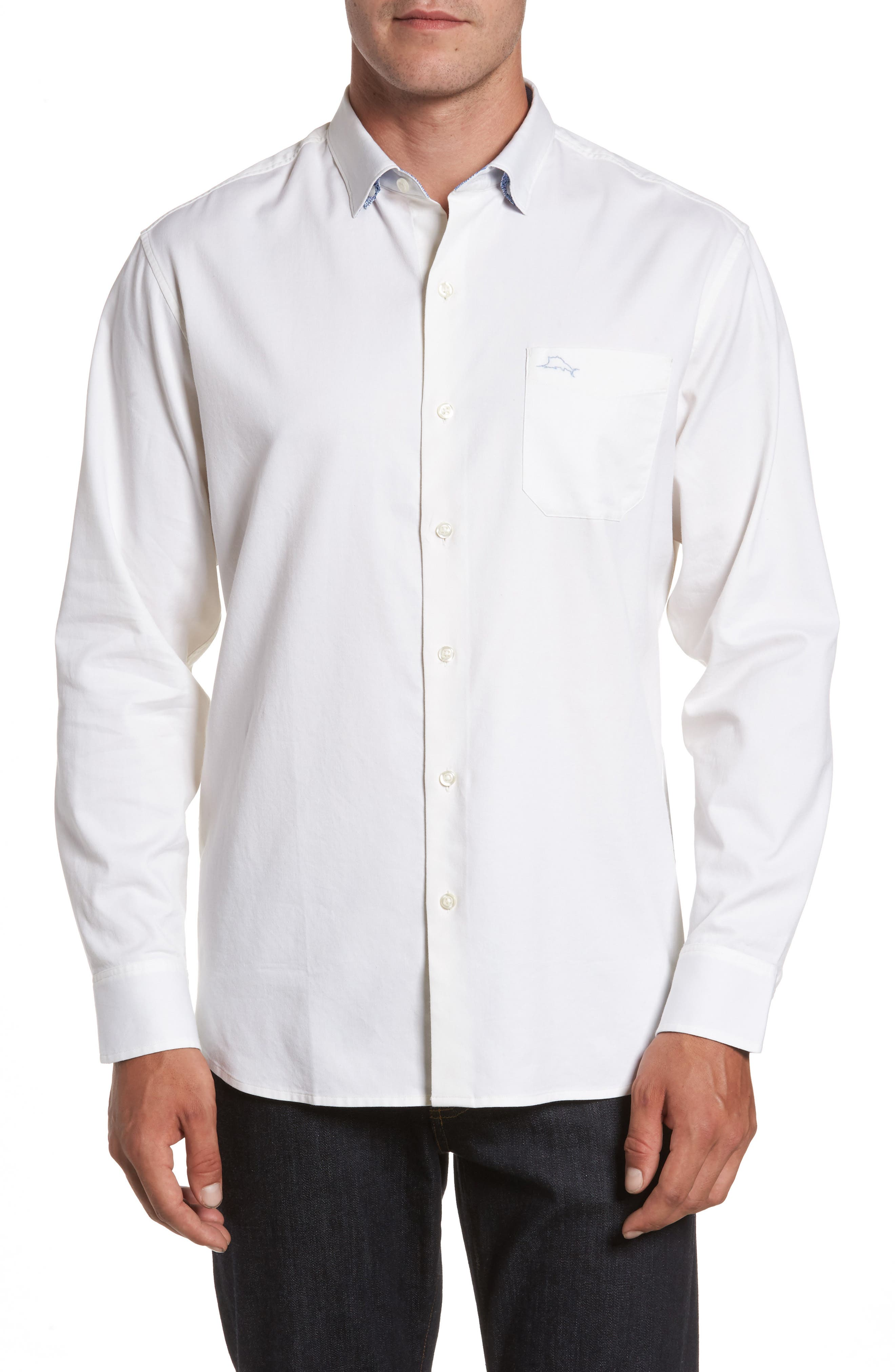Oasis Twill Sport Shirt,                         Main,                         color, WHITE