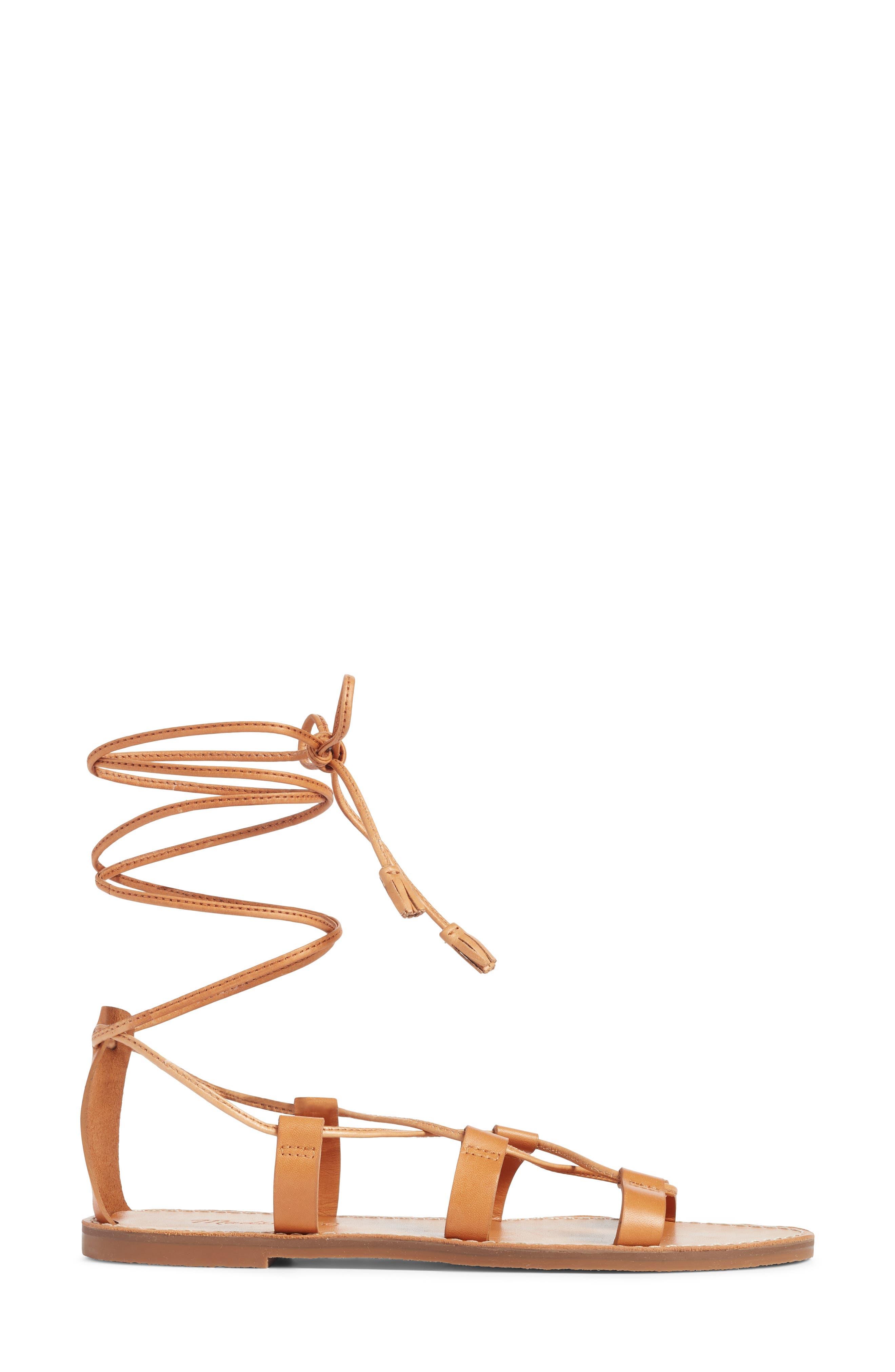 The Boardwalk Lace-Up Sandal,                             Alternate thumbnail 3, color,                             DESERT CAMEL LEATHER