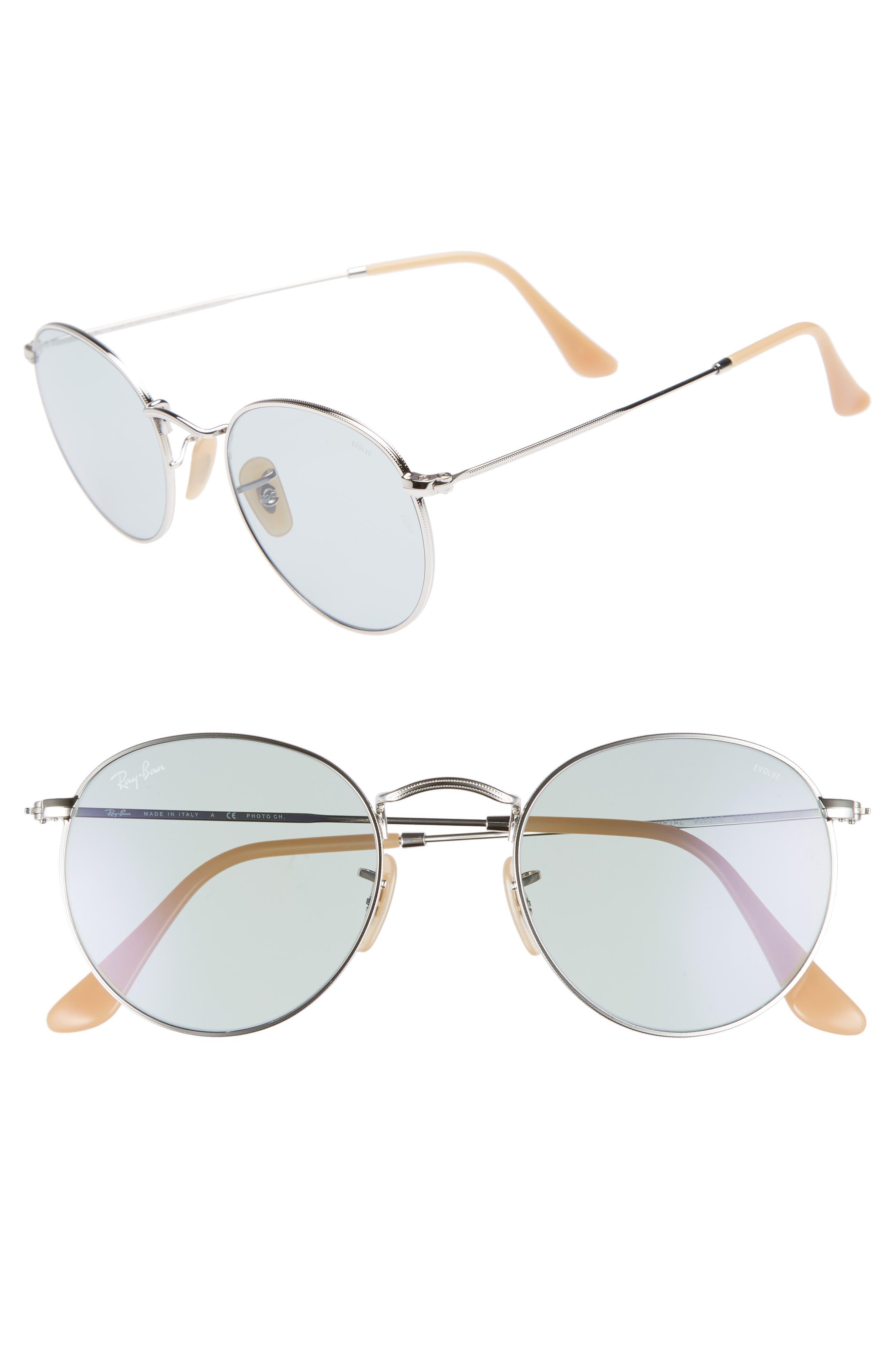 Evolve 50mm Polarized Round Sunglasses,                         Main,                         color, SILVER/ BLUE