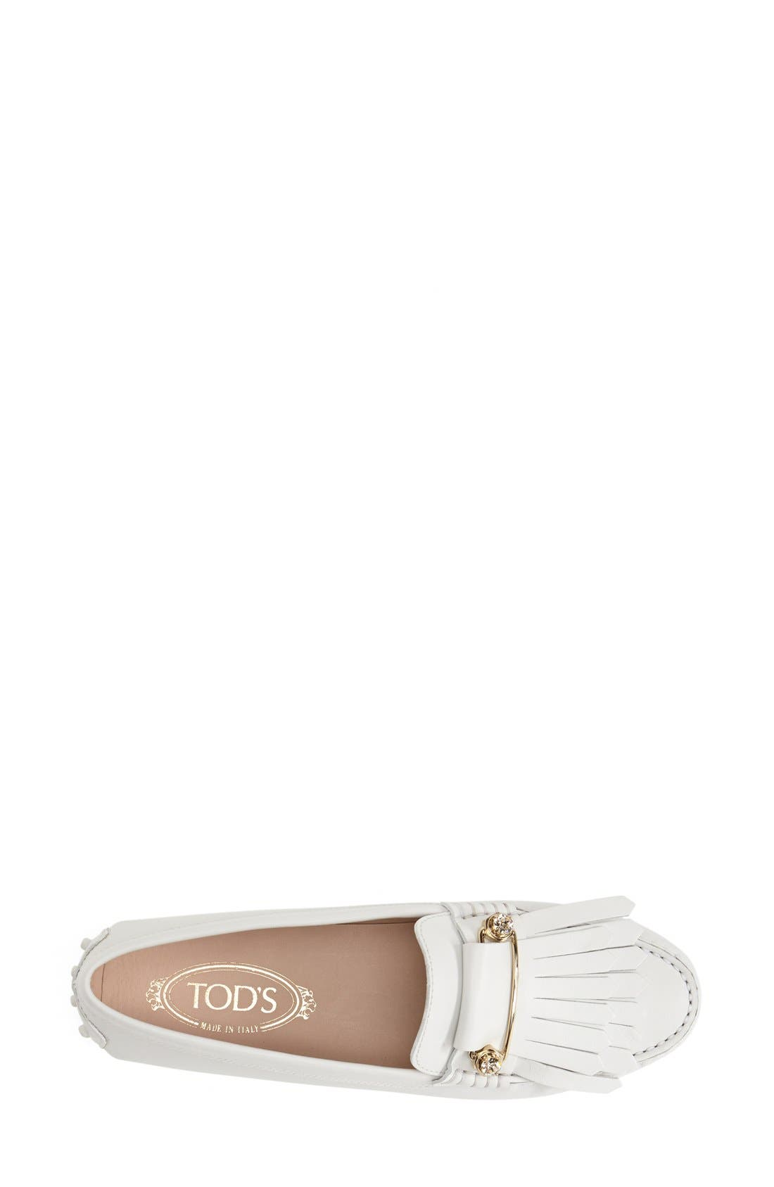 TOD'S,                             'Gommini' Crystal Embellished Fringed Leather Driving Moccasin,                             Alternate thumbnail 2, color,                             100