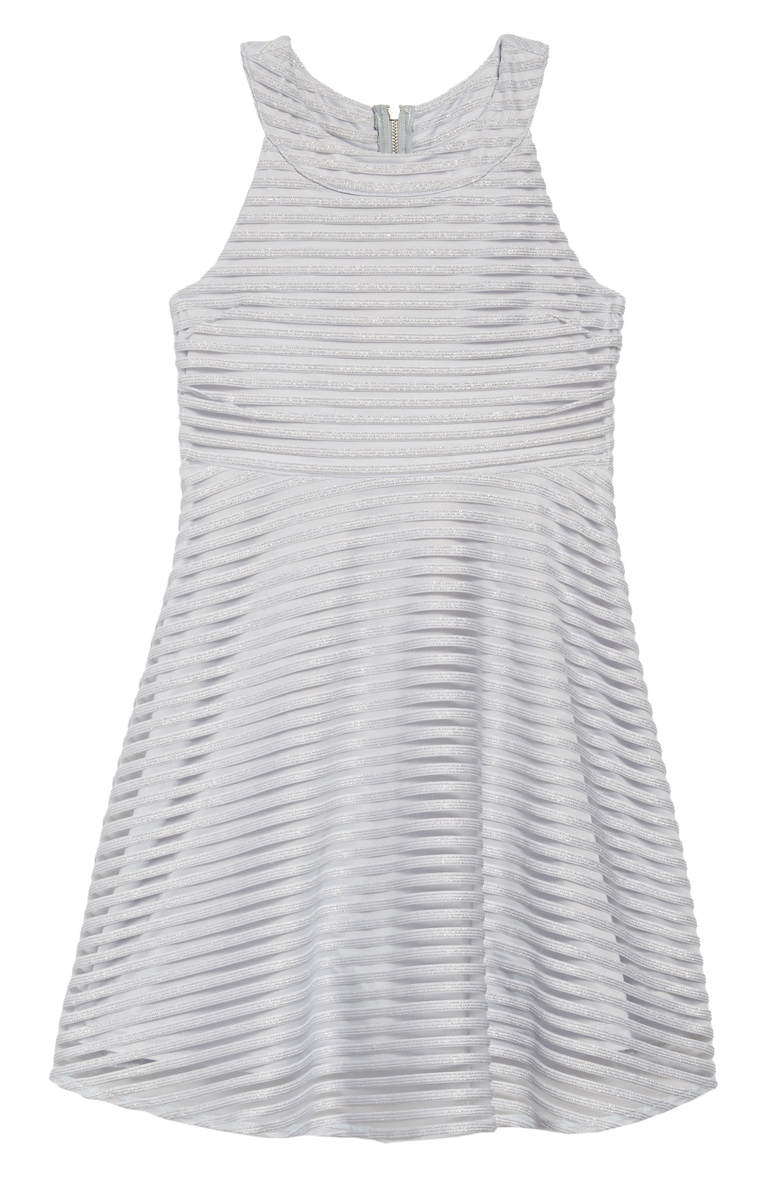 Shadow Stripe Skater Dress,                             Main thumbnail 1, color,                             LIGHT BLUE