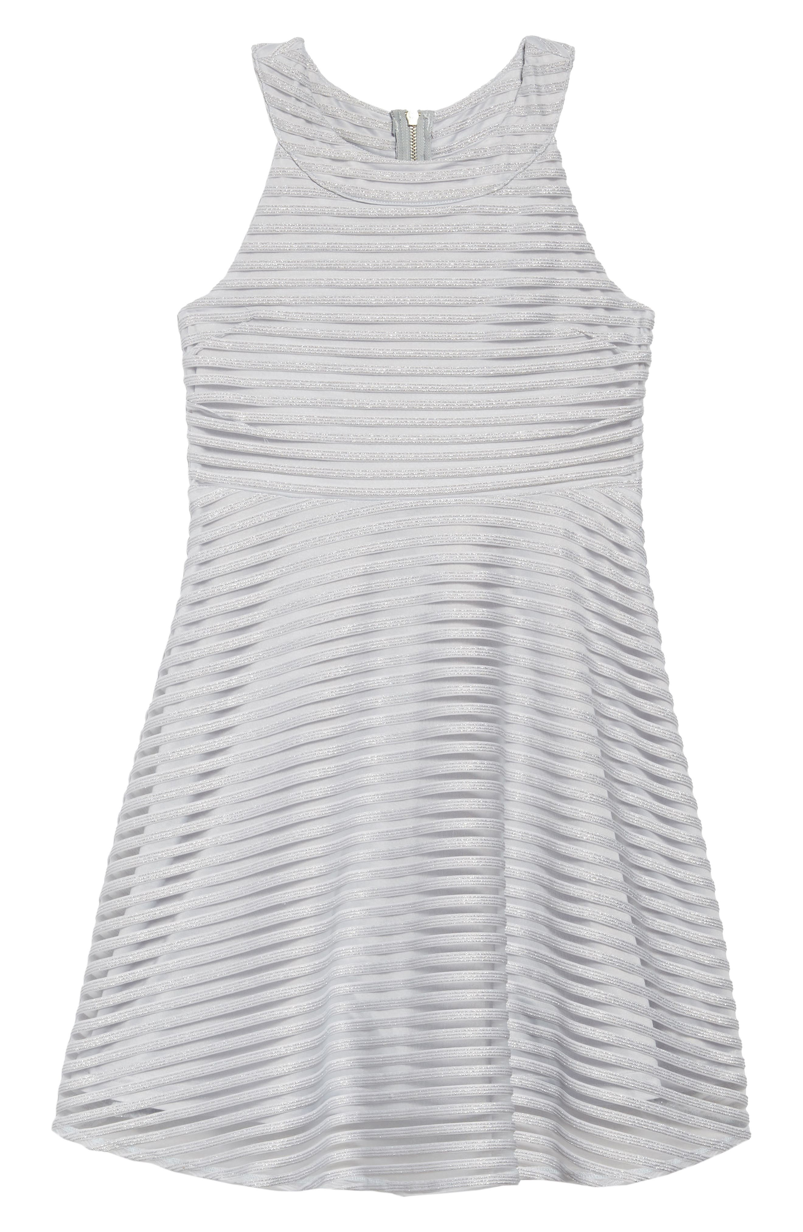 Shadow Stripe Skater Dress,                         Main,                         color, LIGHT BLUE