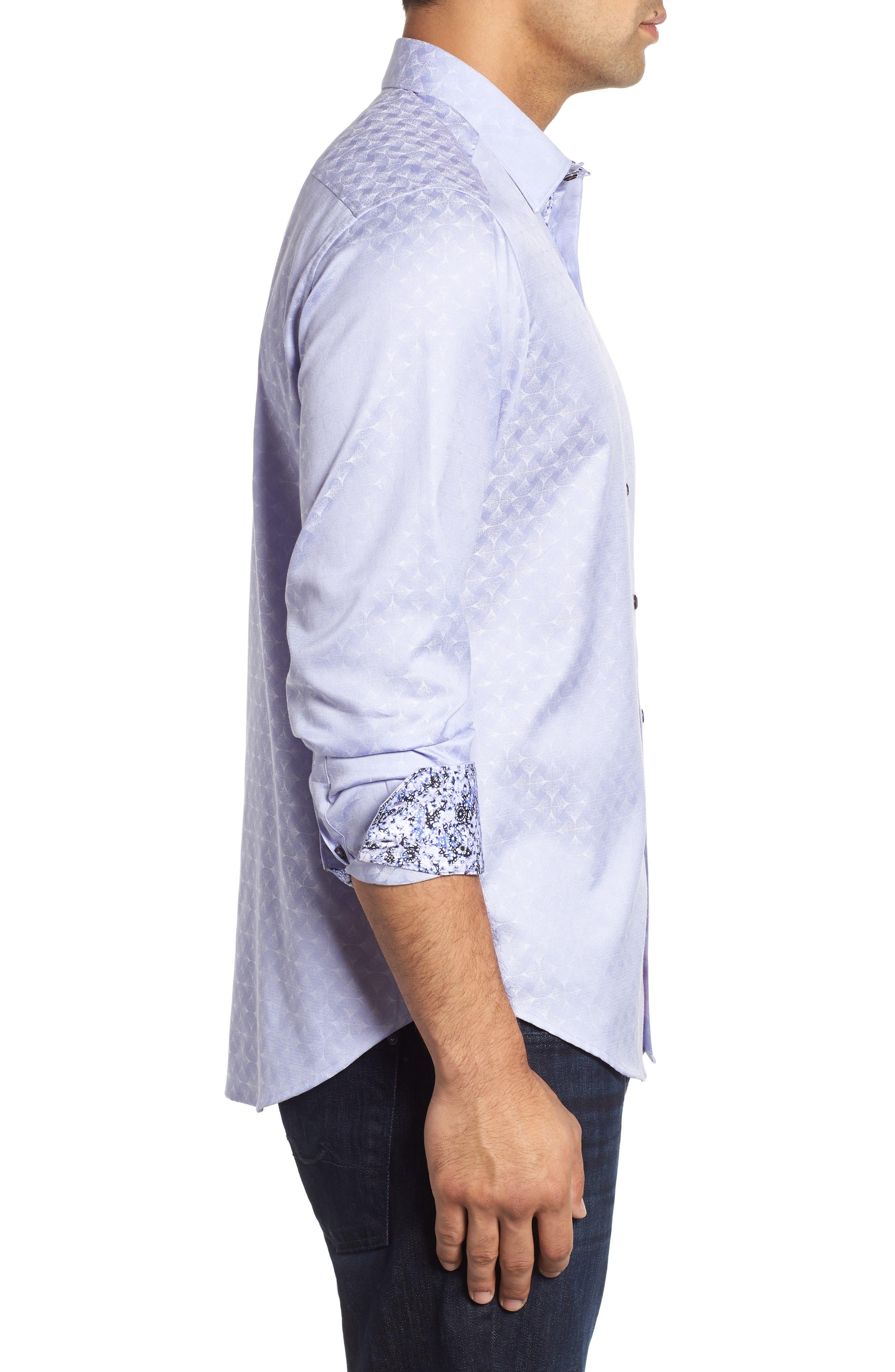 Diamante Classic Fit Print Sport Shirt,                             Alternate thumbnail 4, color,                             LILAC
