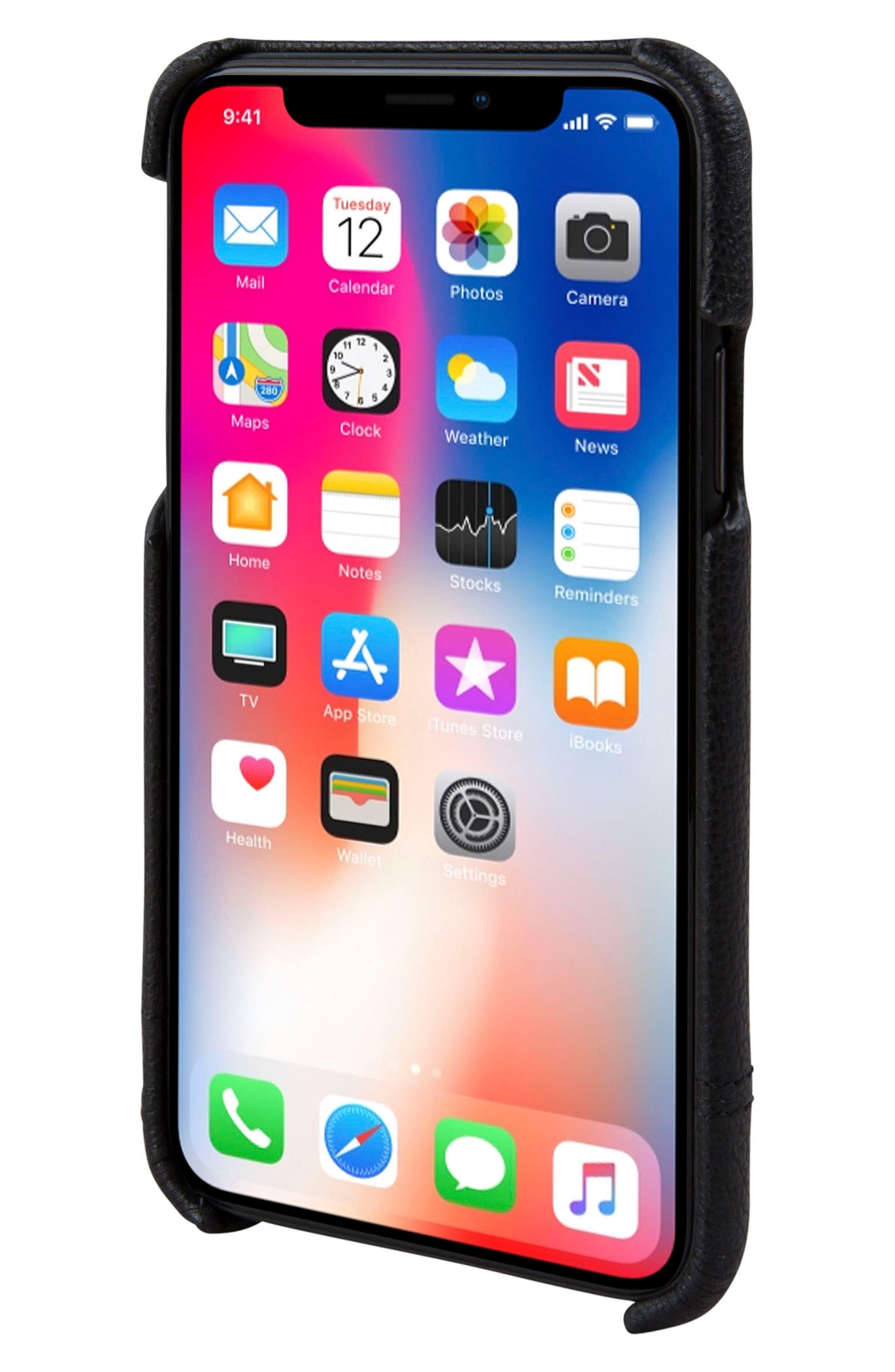 Focus Leather iPhone X Case,                             Alternate thumbnail 2, color,                             001
