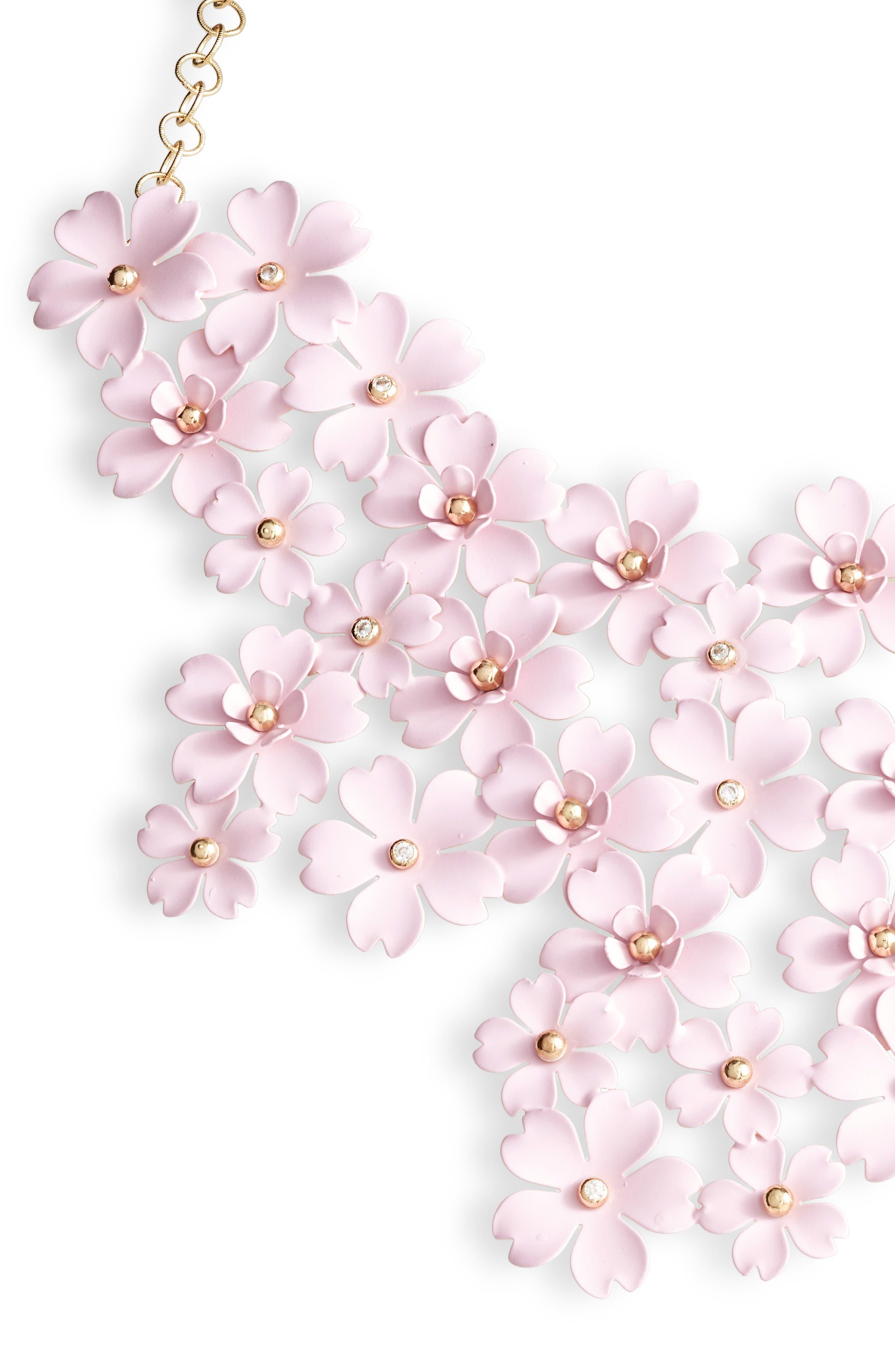 SEREFINA Cherry Blossom Statement Necklace in Blush