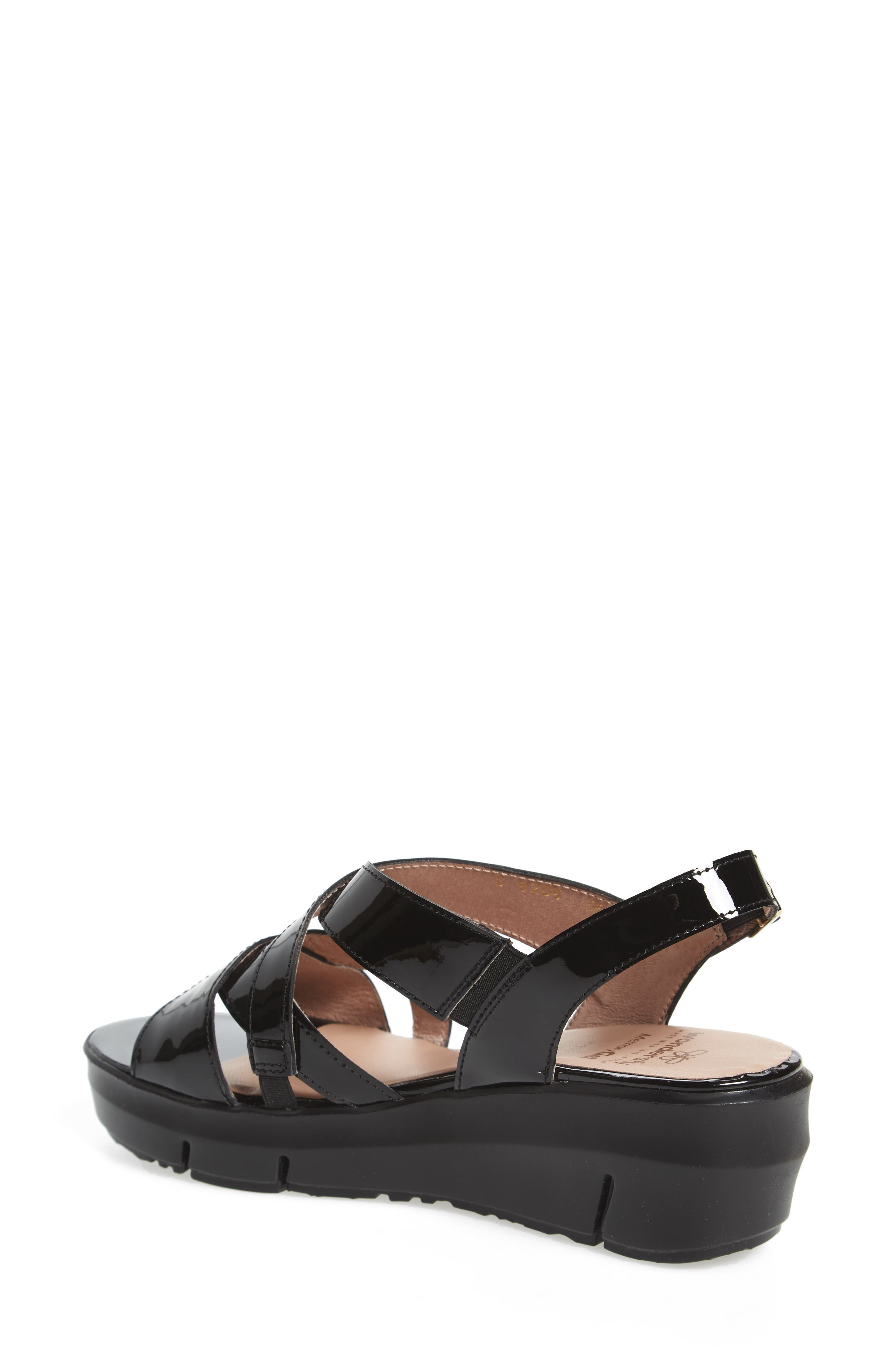Platform Wedge Sandal,                             Alternate thumbnail 2, color,                             BLACK LEATHER