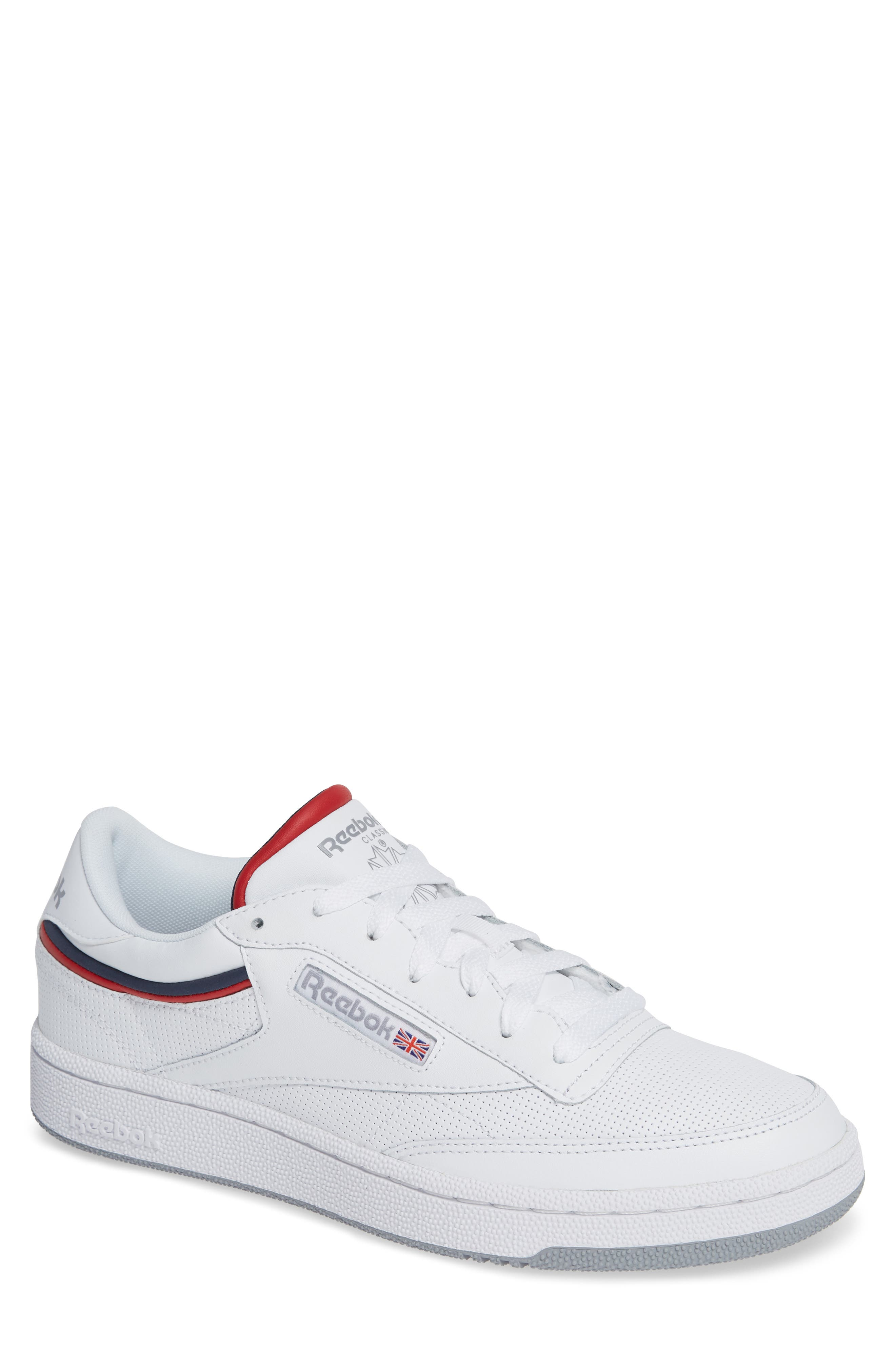REEBOK Men'S Classic Club 85 Perforated Leather Lace-Up Sneakers in White/ Collegiate Navy/ Red