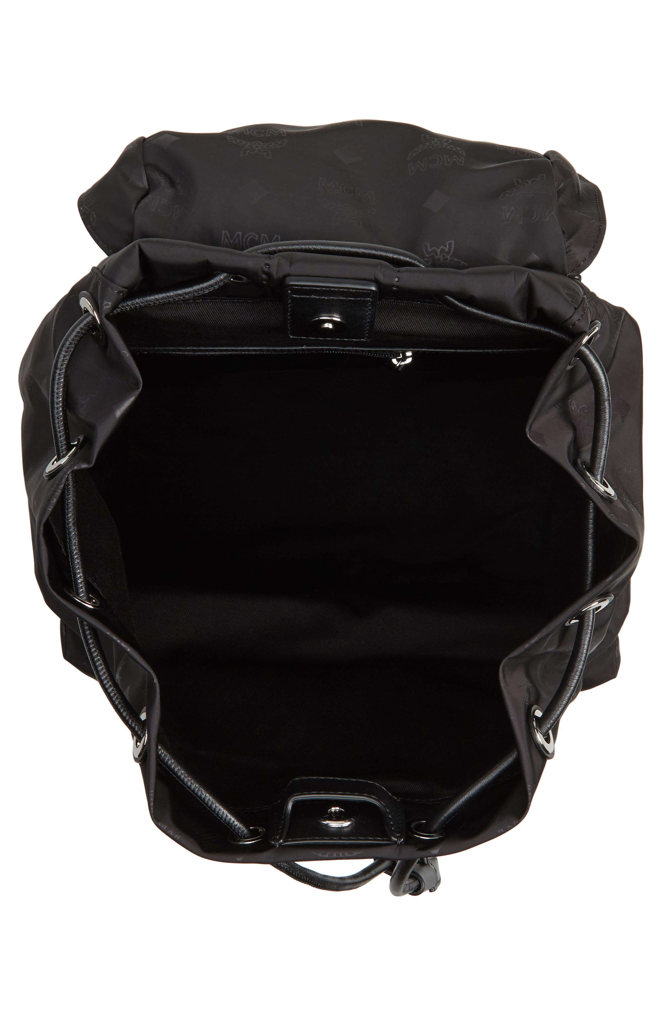 Large Dieter Monogrammed Nylon Backpack,                             Alternate thumbnail 4, color,                             001