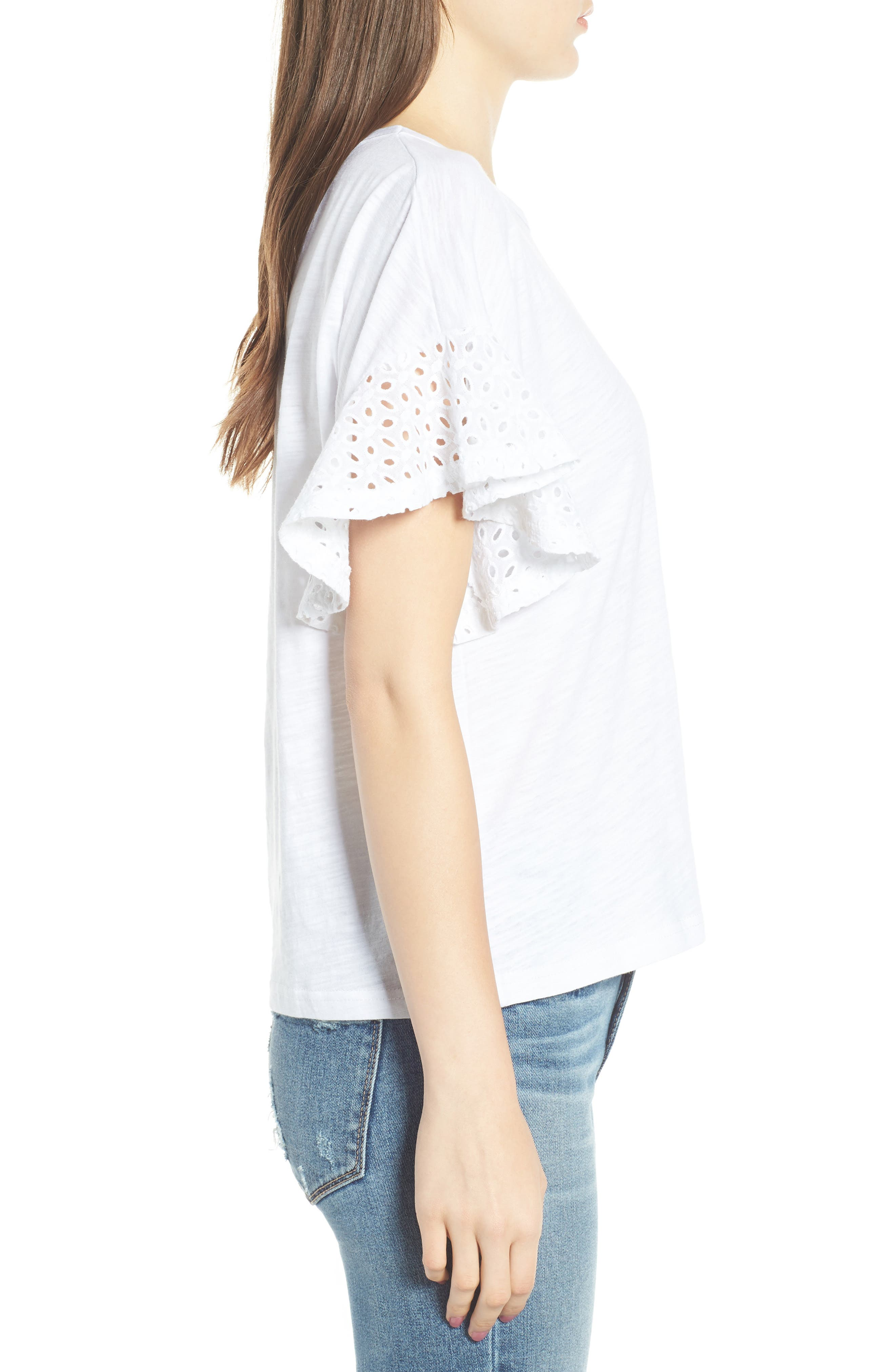 Eyelet Sleeve Burnout Tee,                             Alternate thumbnail 3, color,                             100
