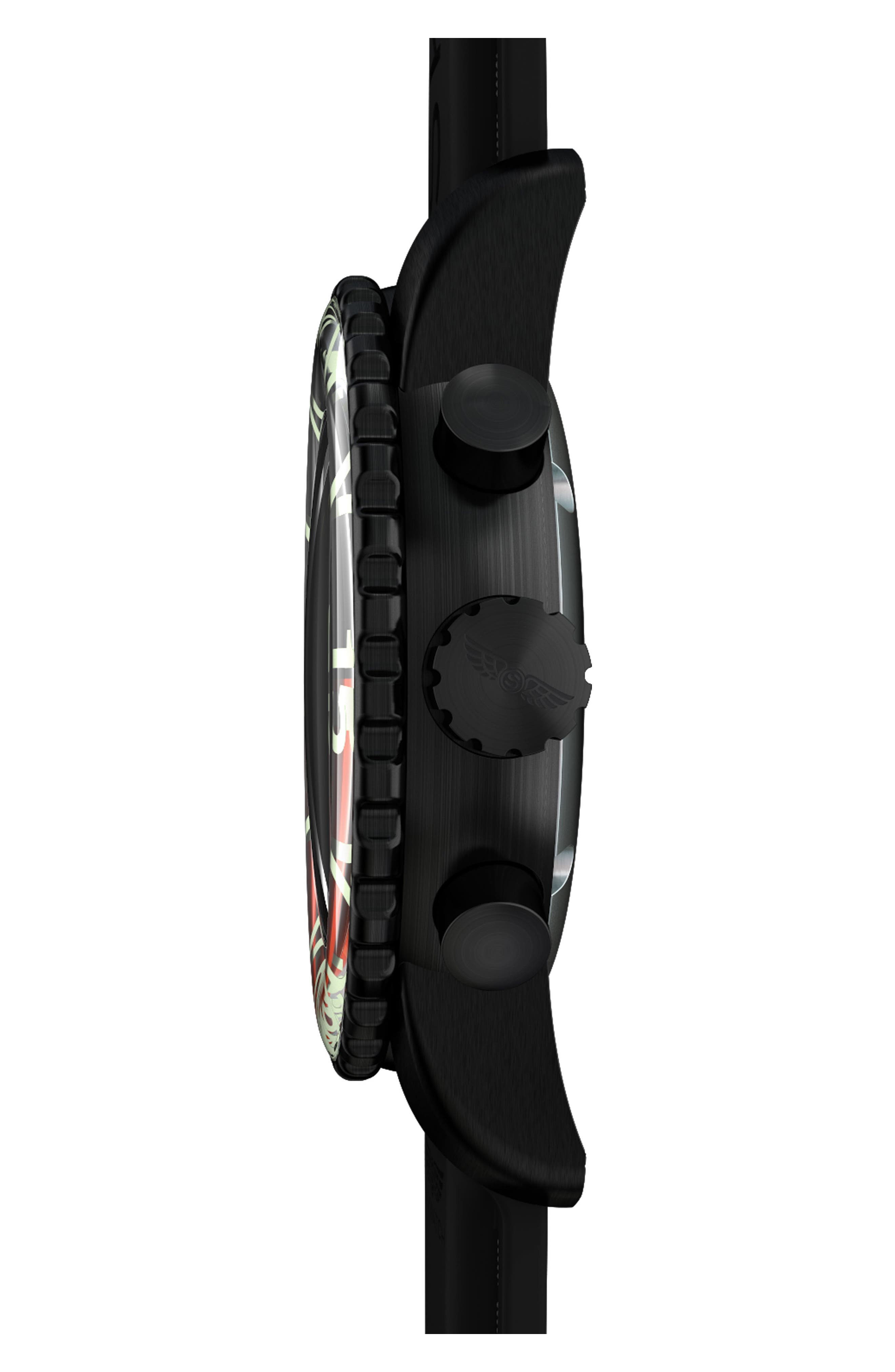 SKYWATCH,                             Classic Chronograph Silicone Strap Watch, 44mm,                             Alternate thumbnail 3, color,                             BLACK/ BLACK