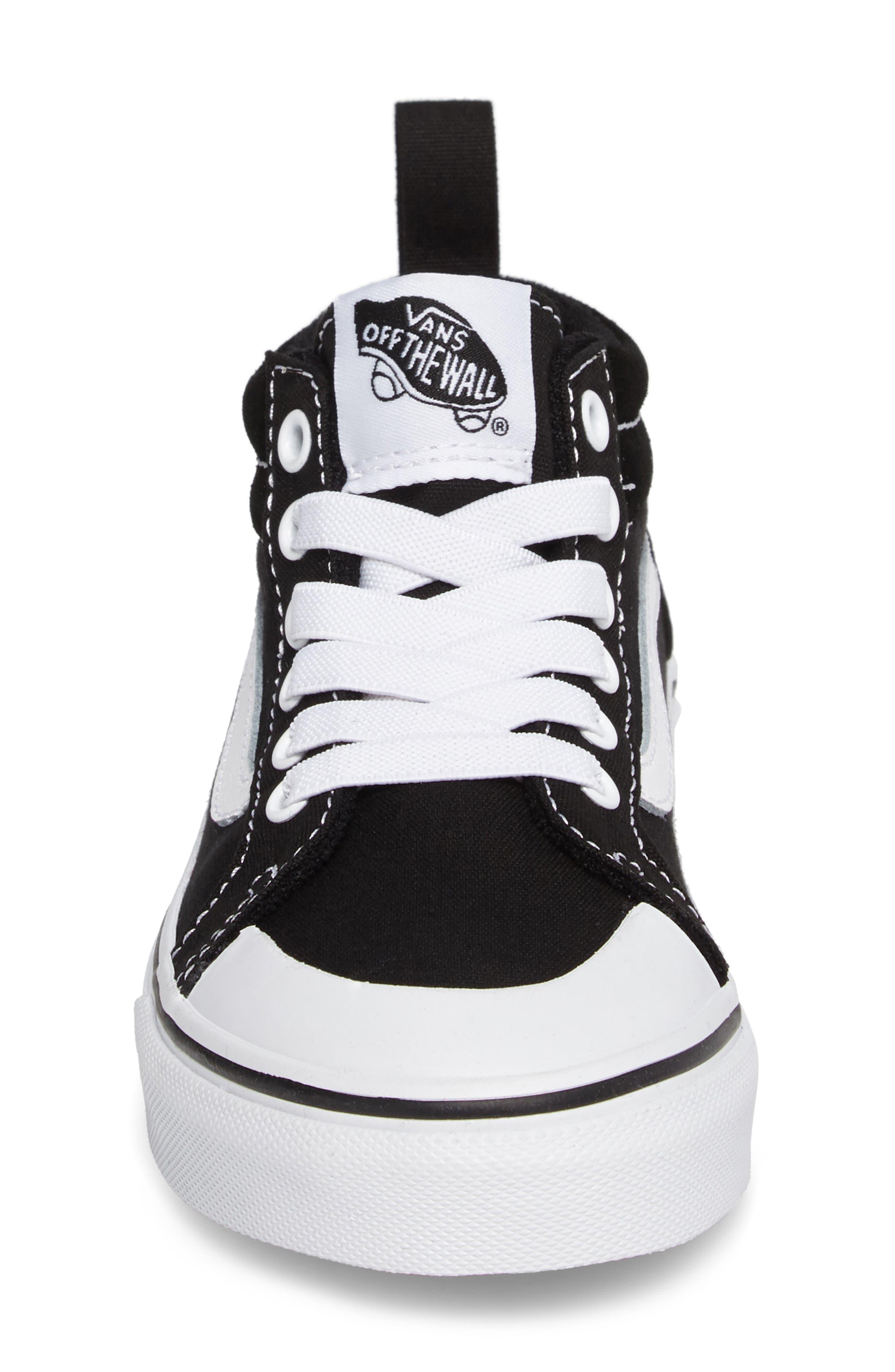 Racer Mid Elastic Lace Sneaker,                             Alternate thumbnail 4, color,                             BLACK/ TRUE WHITE CANVAS