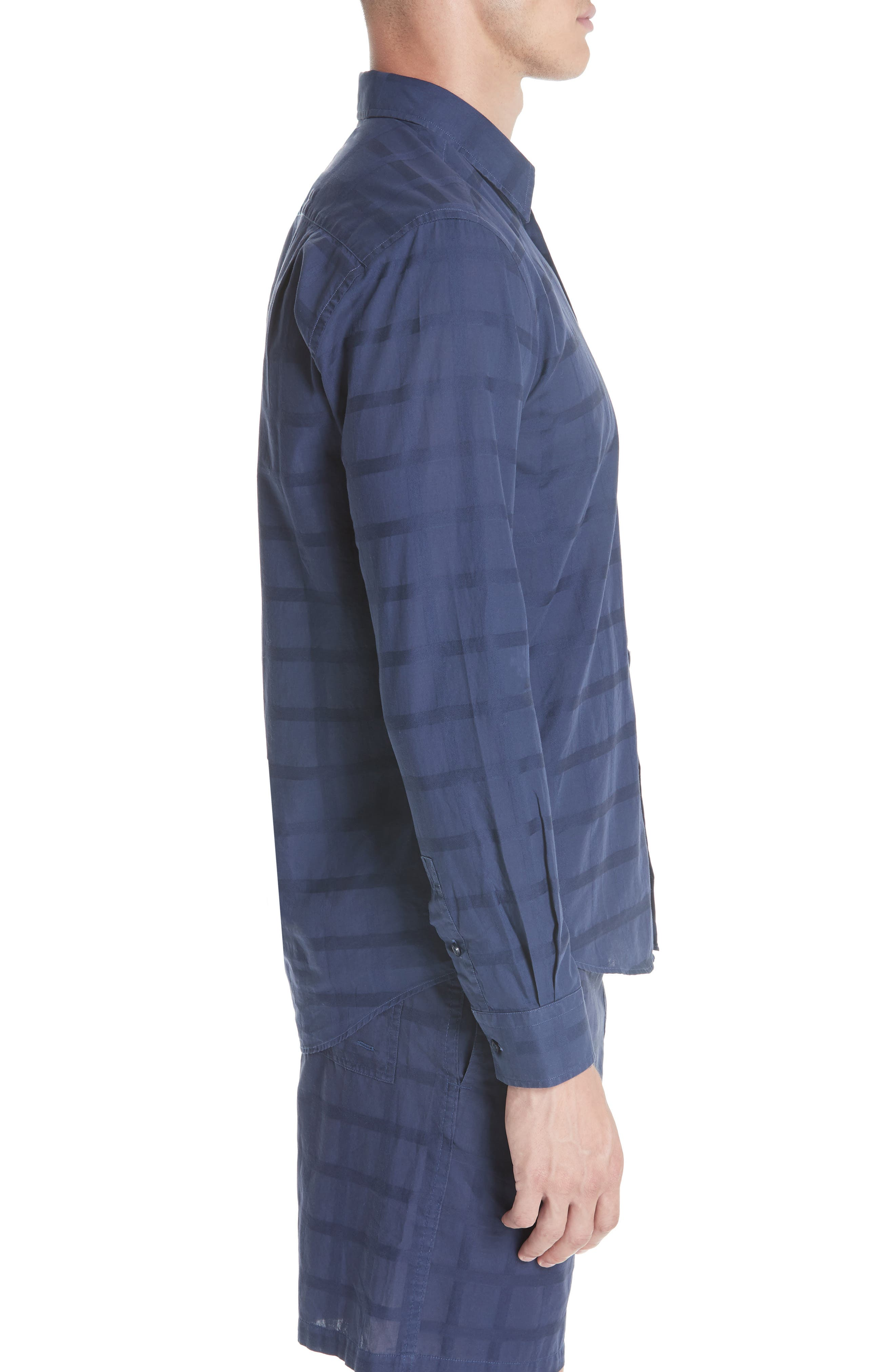 Check Voile Sport Shirt,                             Alternate thumbnail 3, color,                             BLUE