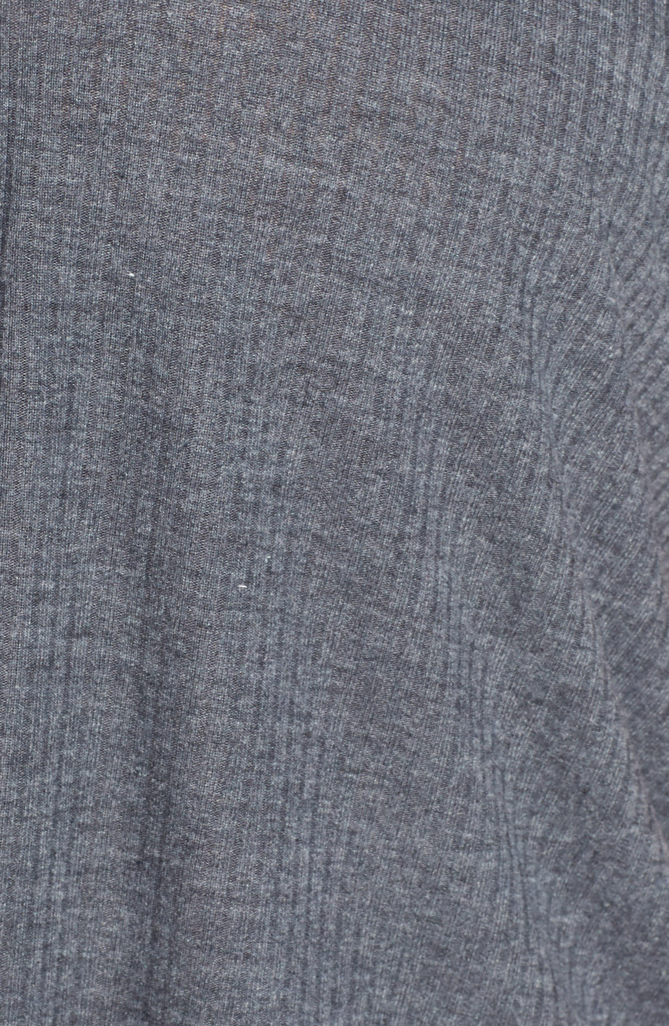 Button Front Knot Hem Tee,                             Alternate thumbnail 5, color,                             GREY MEDIUM CHARCOAL HEATHER