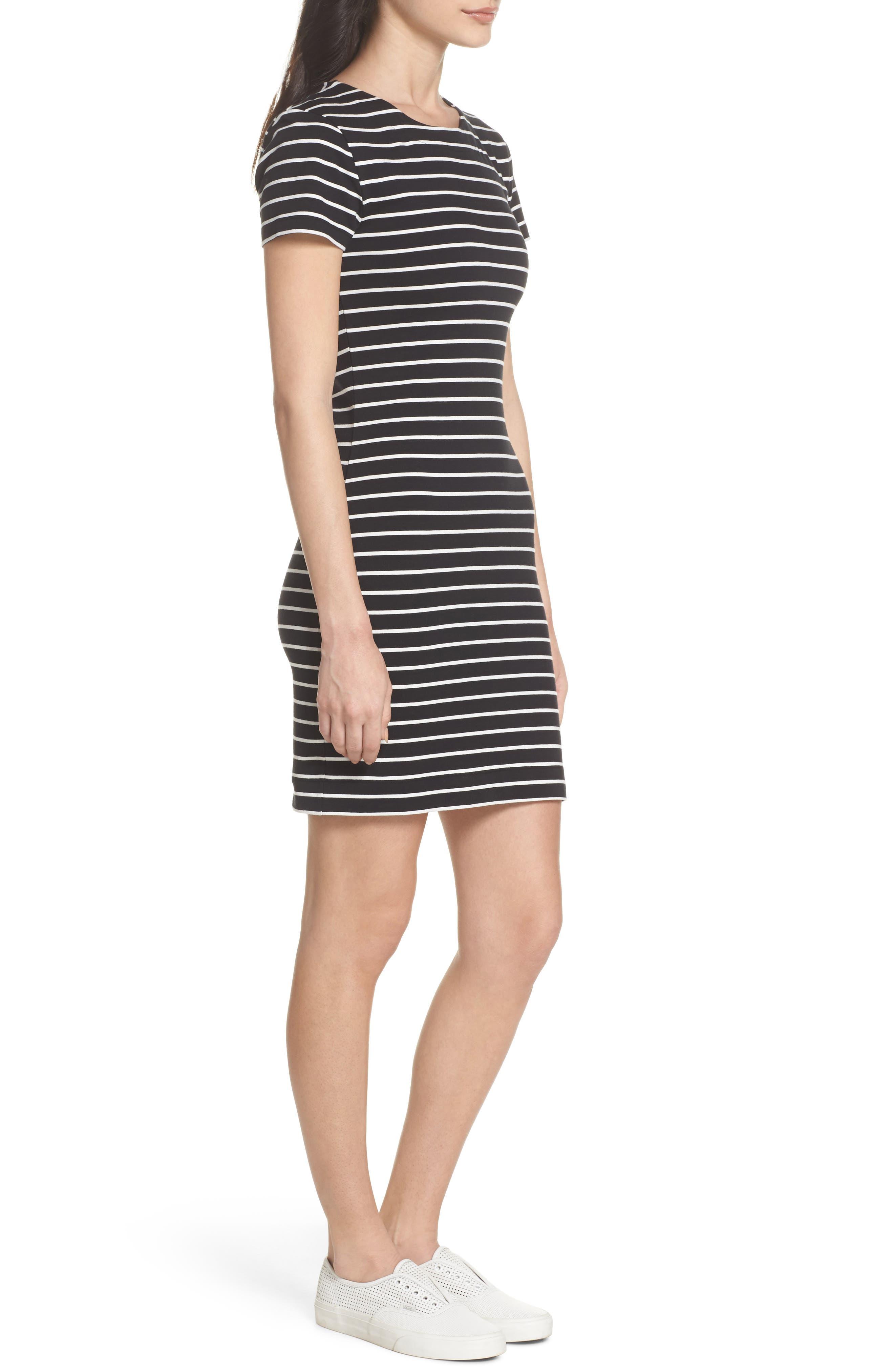 Knit Stripe Body-Con Dress,                             Alternate thumbnail 3, color,                             006