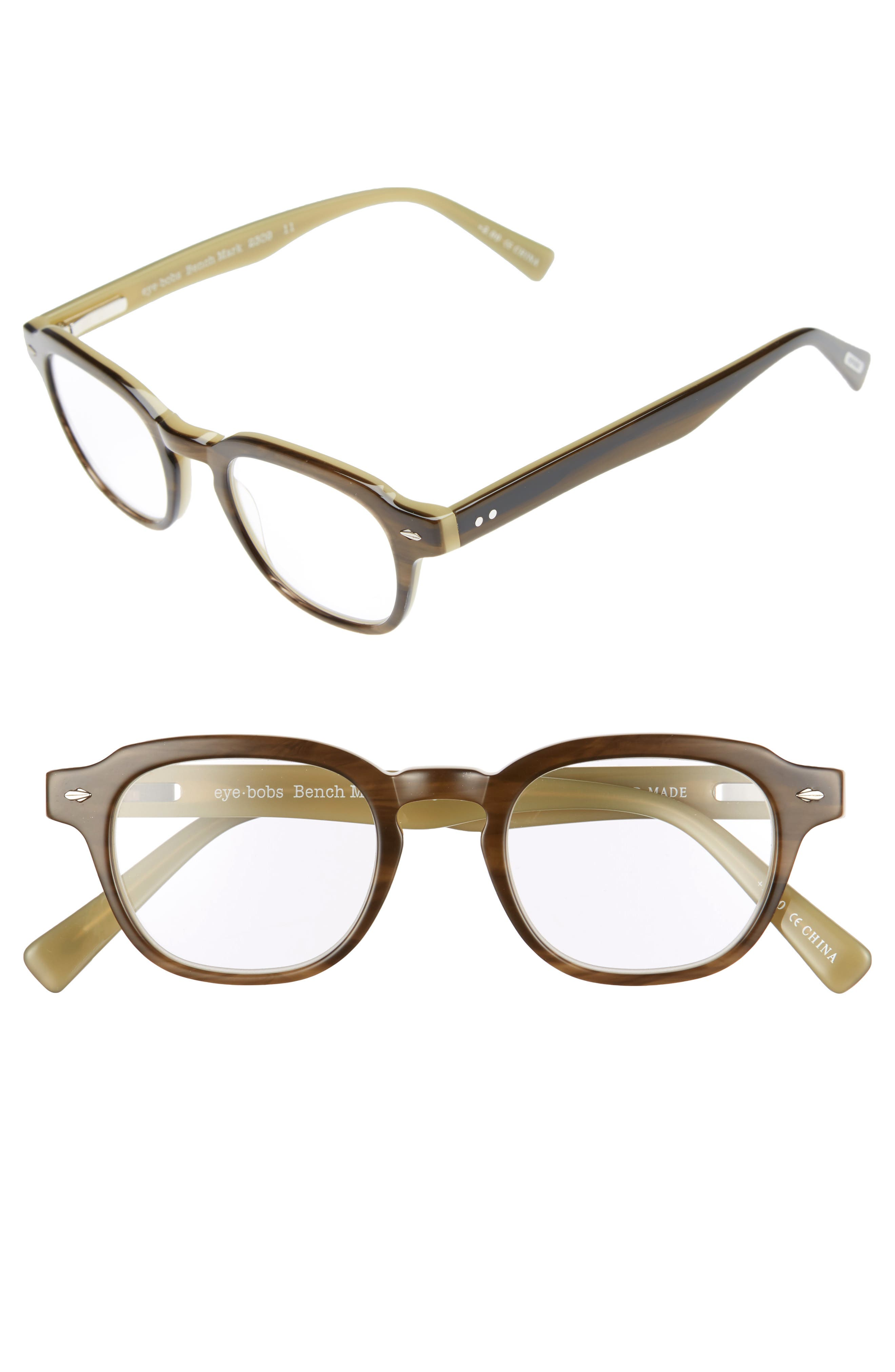 Bench Mark 46mm Reading Glasses,                             Main thumbnail 1, color,                             KHAKI GREEN
