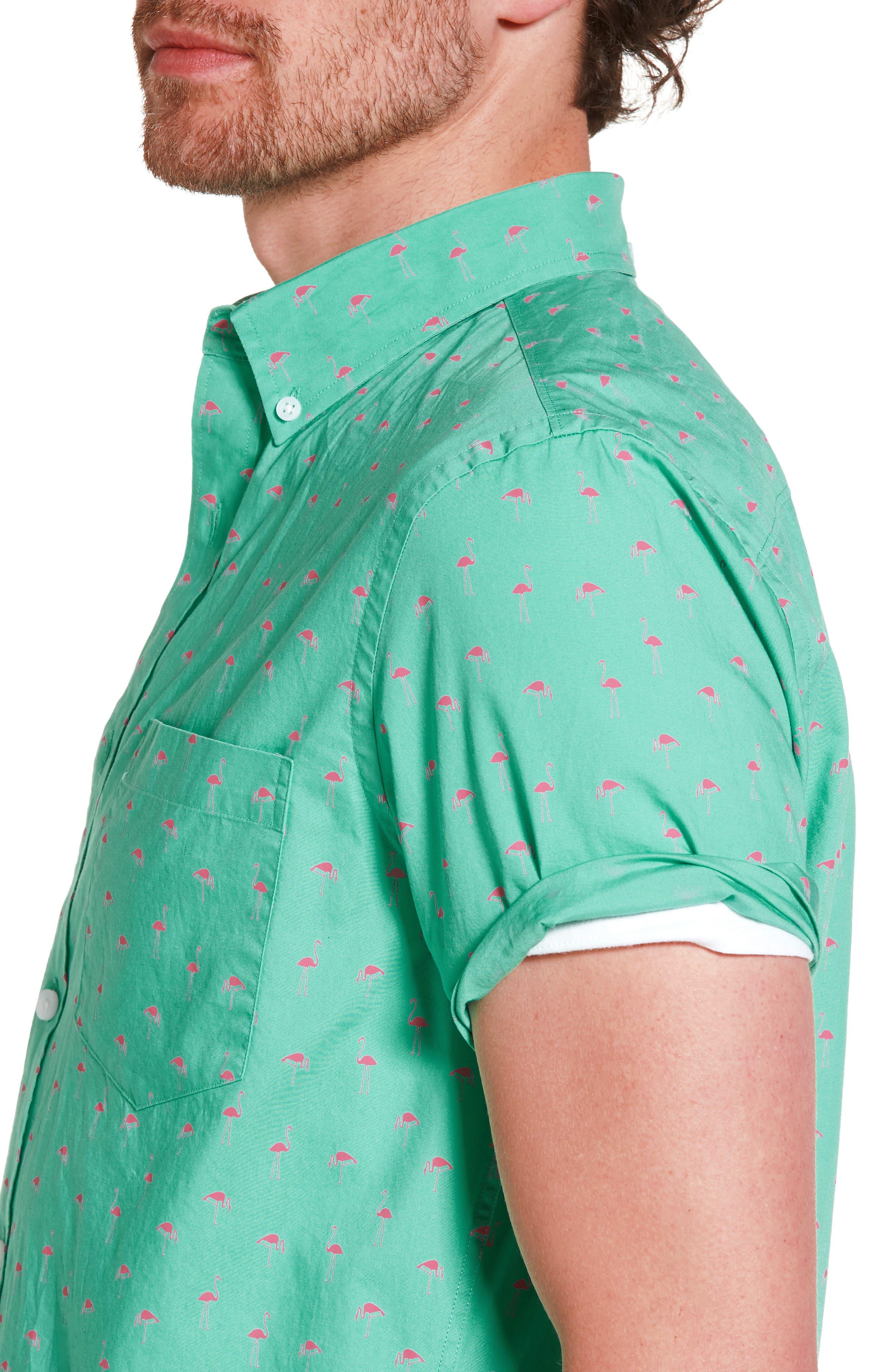 Slim Fit Flamingo Print Sport Shirt,                             Alternate thumbnail 4, color,                             310