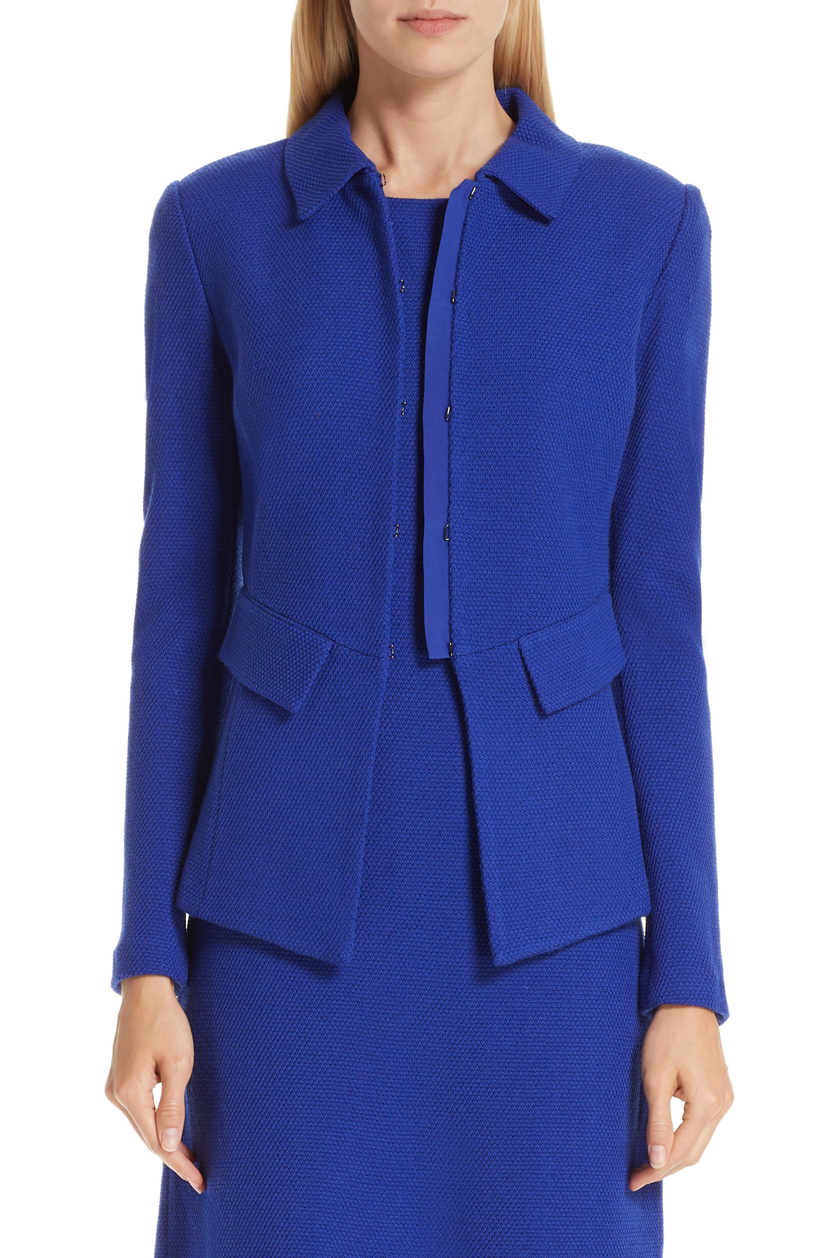 Irina Hook-Front Boucle-Knit Jacket W/ Pocket Flaps in Sapphire