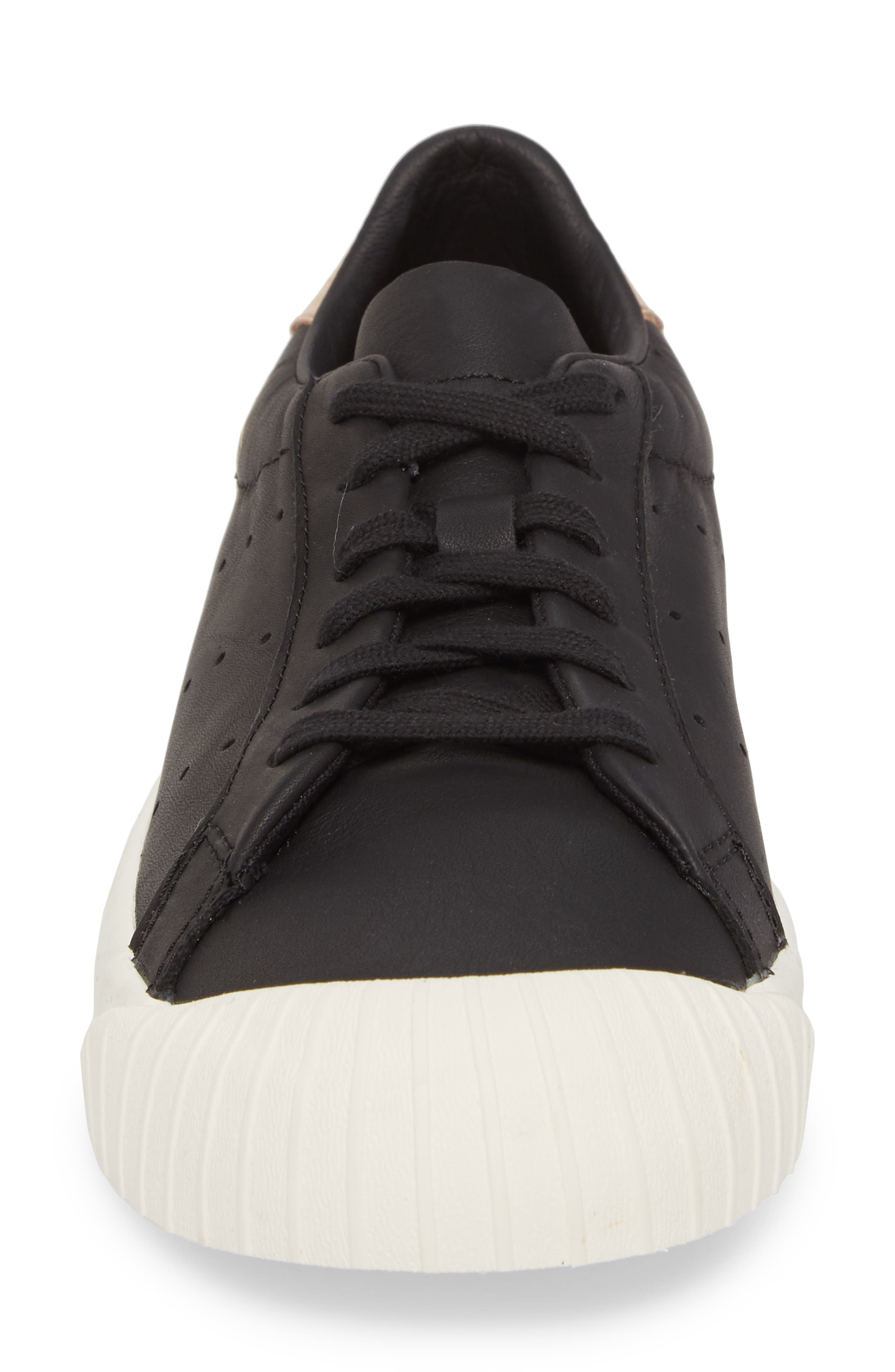 Everyn Perforated Low Top Sneaker,                             Alternate thumbnail 4, color,                             001