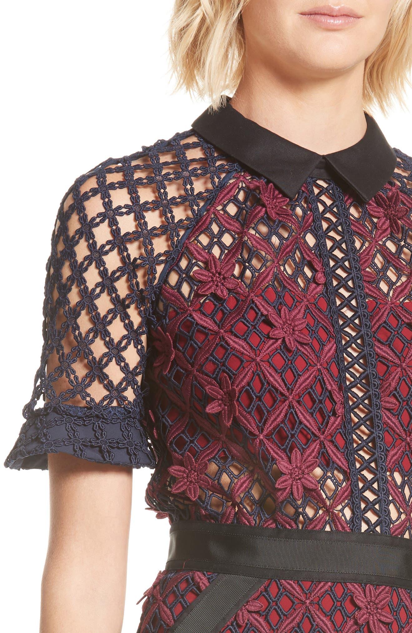 Floral Grid Midi Dress,                             Alternate thumbnail 4, color,                             640