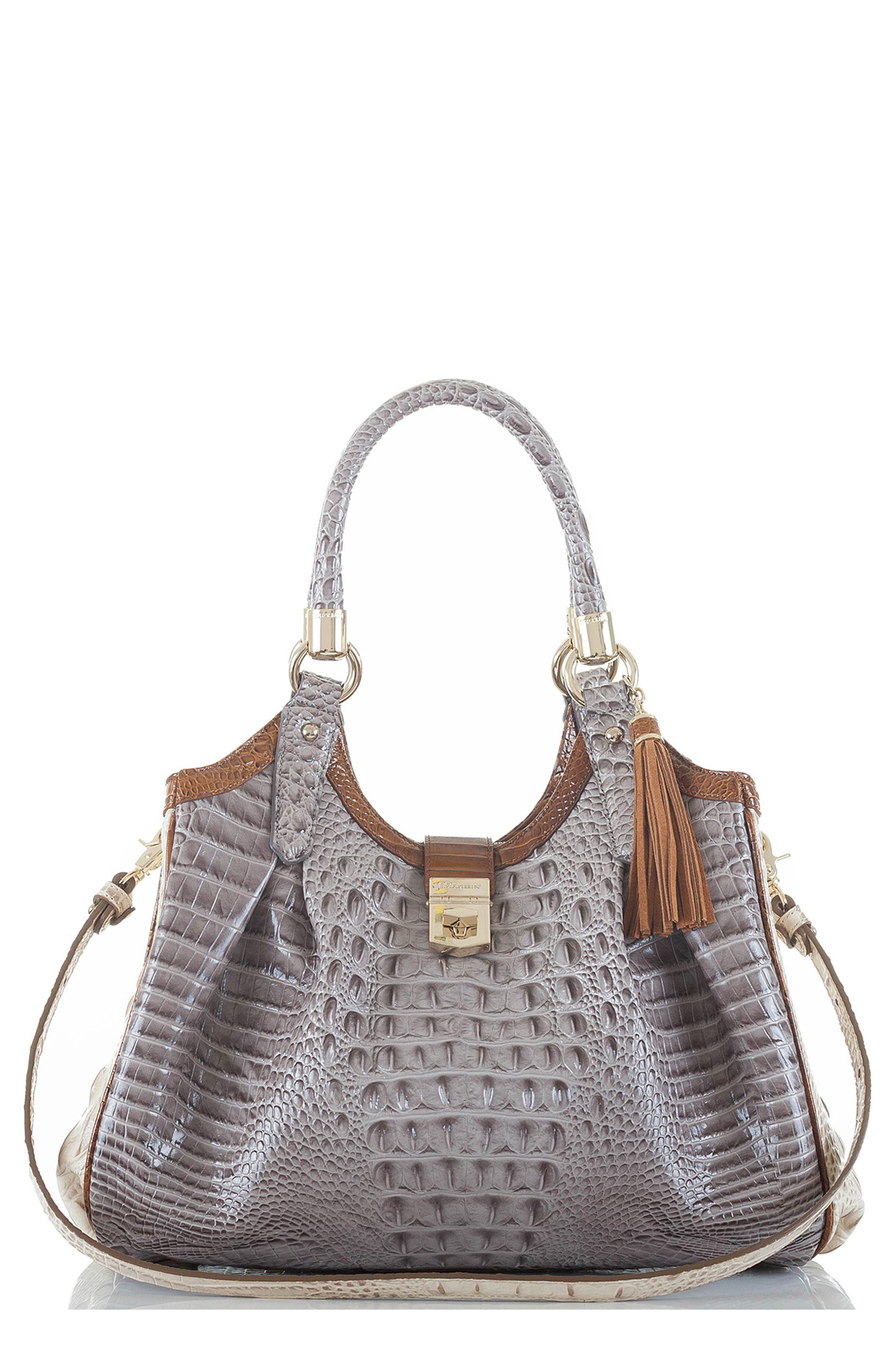 Elisa Croc Embossed Leather Shoulder Bag,                         Main,                         color, 032