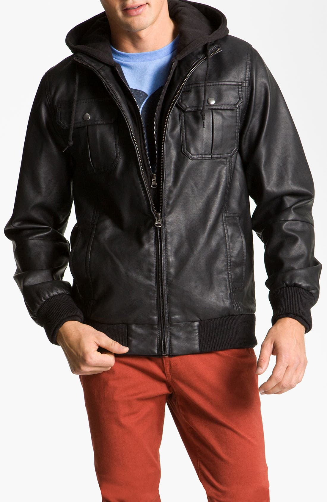 'Rapture' Trim Fit Layered Faux Leather Jacket, Main, color, 001