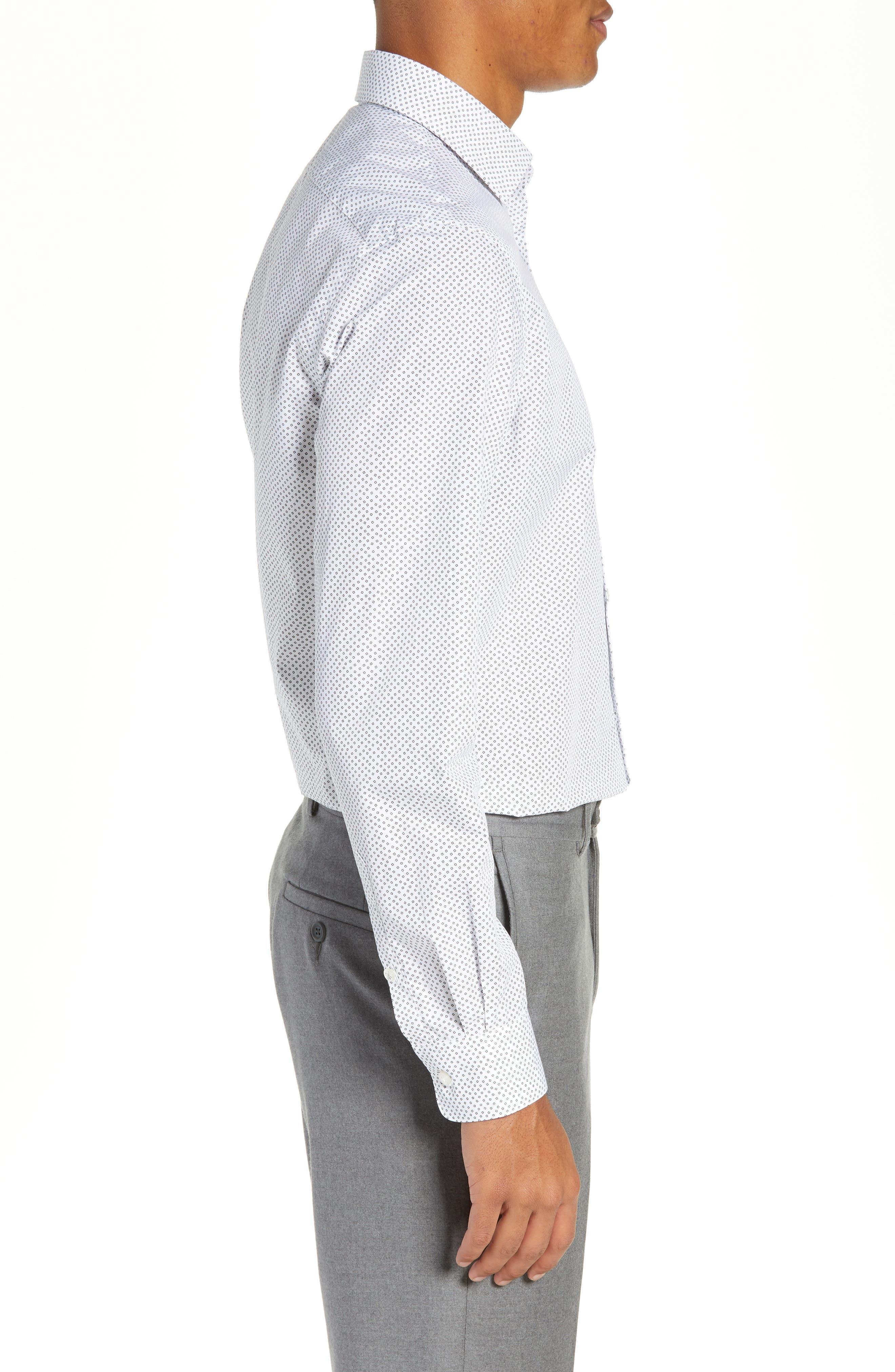 Regular Fit Print Dress Shirt,                             Alternate thumbnail 4, color,                             SALT