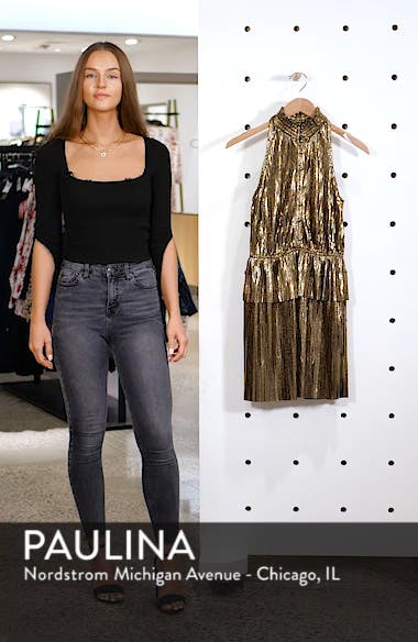 Metallic Plissé Peplum Dress, sales video thumbnail