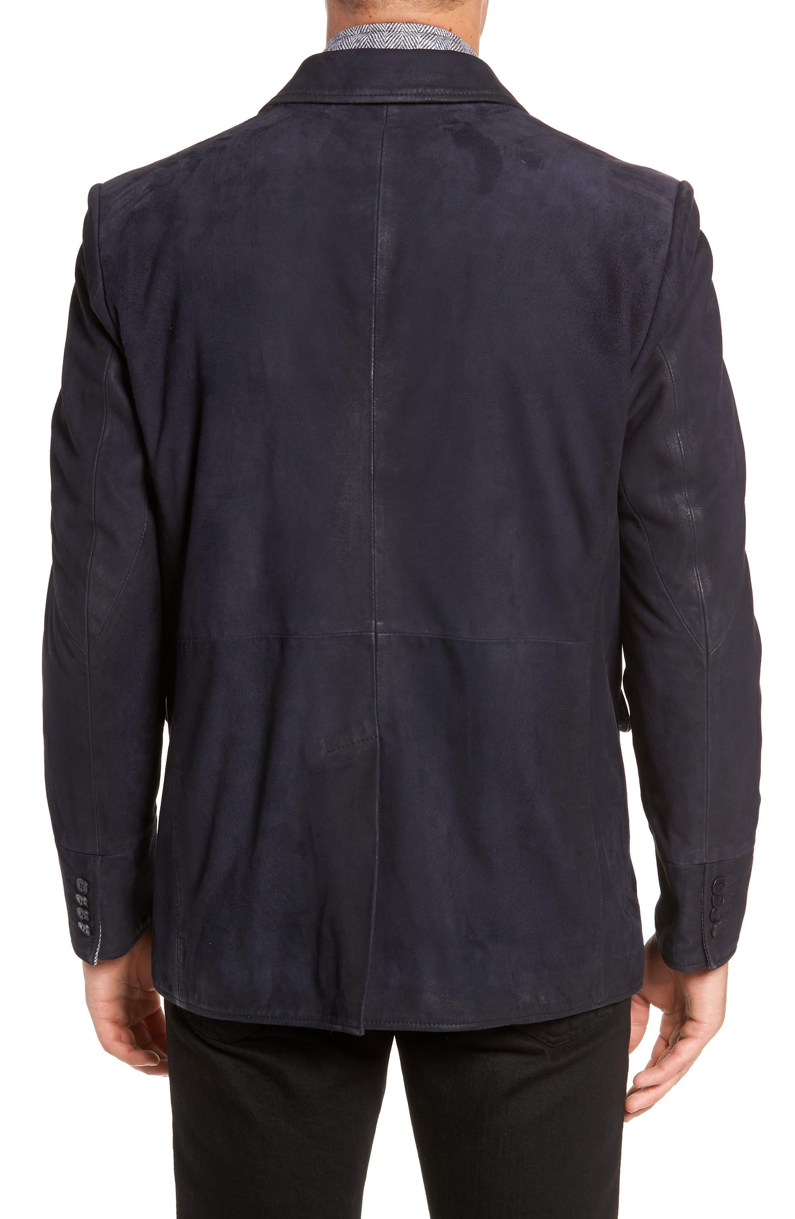 Zip Insert Leather Blazer,                             Alternate thumbnail 2, color,                             NAVY
