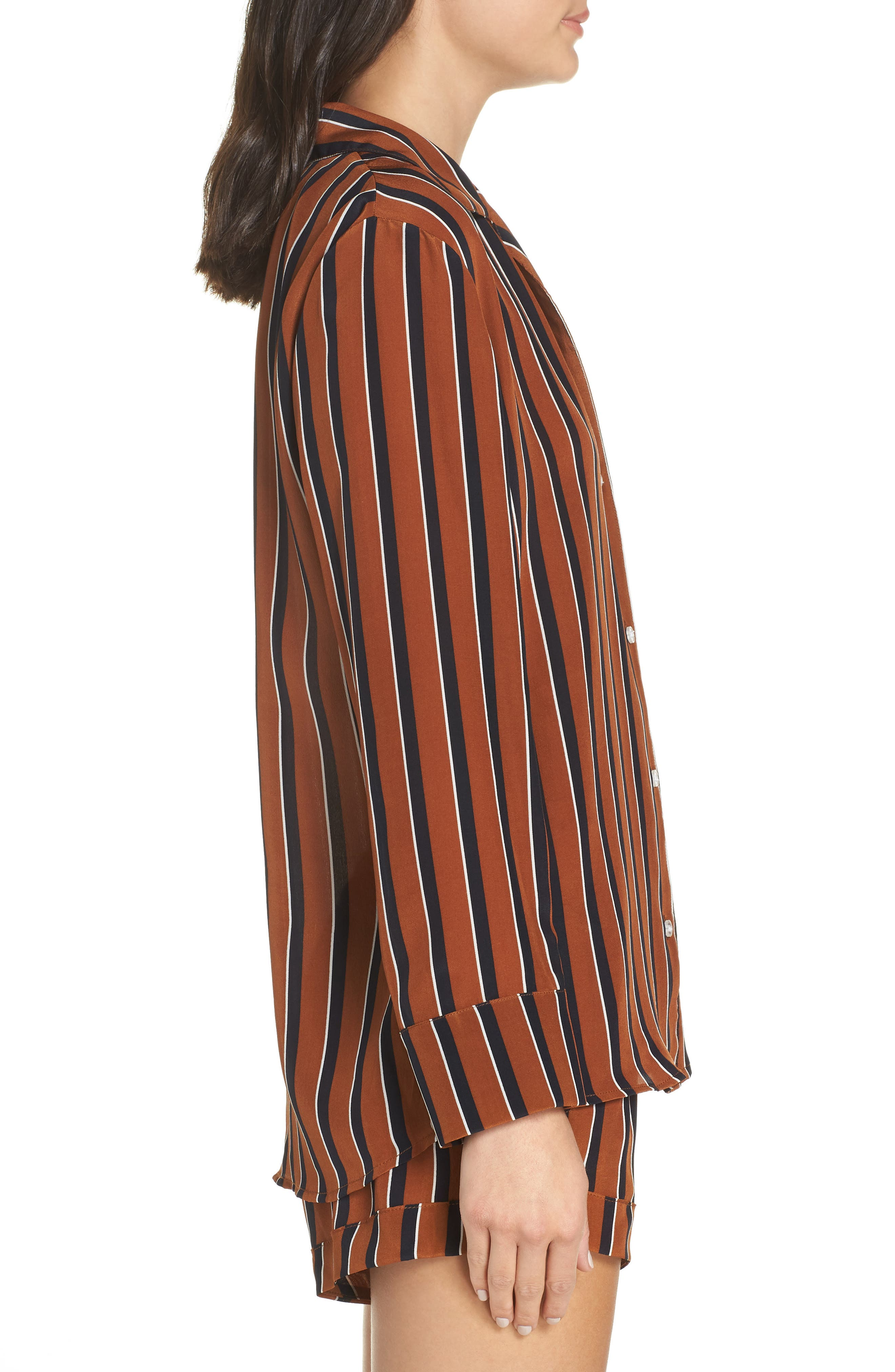 Fleur Striped Silk Pajama Top,                             Alternate thumbnail 3, color,                             TOBACCO STRIPE