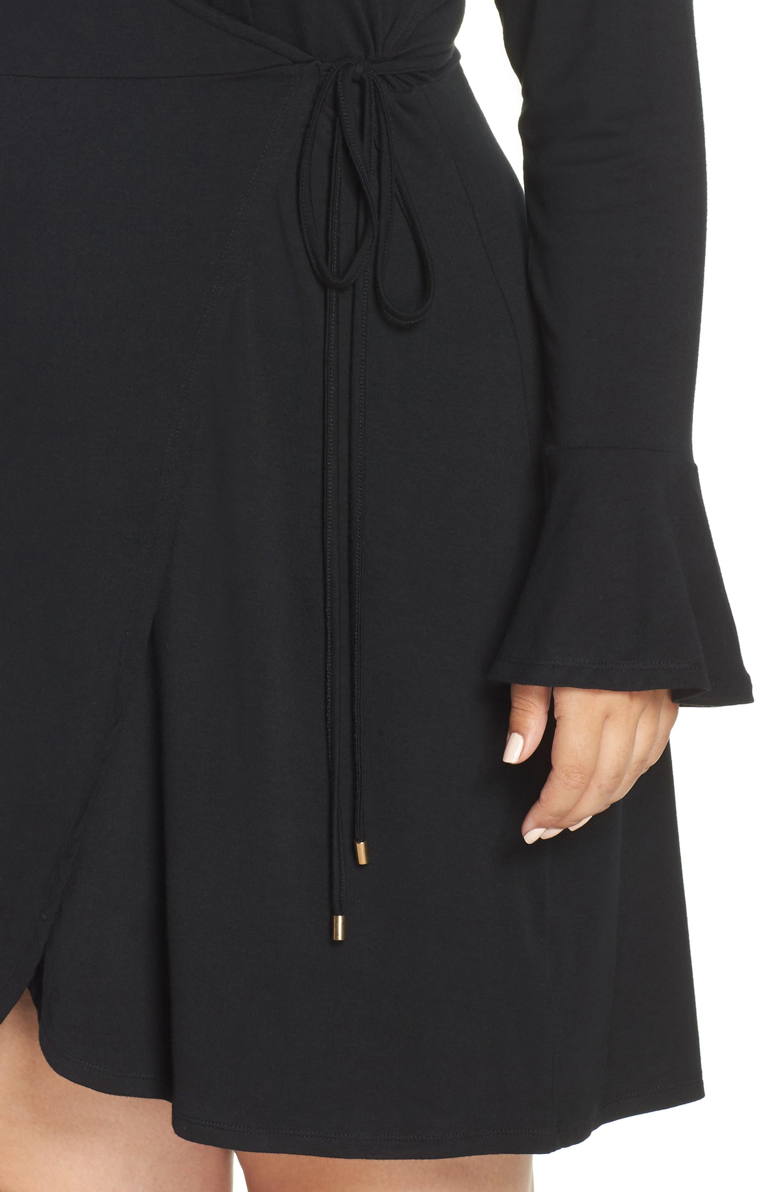 Casey Faux Wrap Dress,                             Alternate thumbnail 4, color,                             BLACK