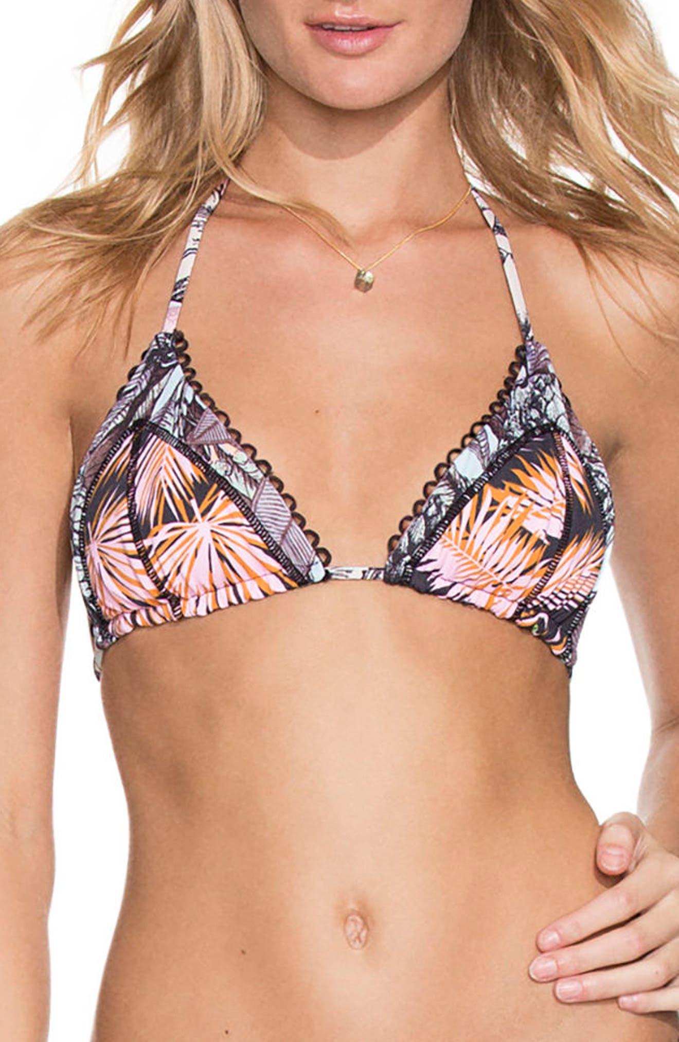 Bumpy Roads Triangle Bikini Top,                             Main thumbnail 1, color,                             BLACK MULTI