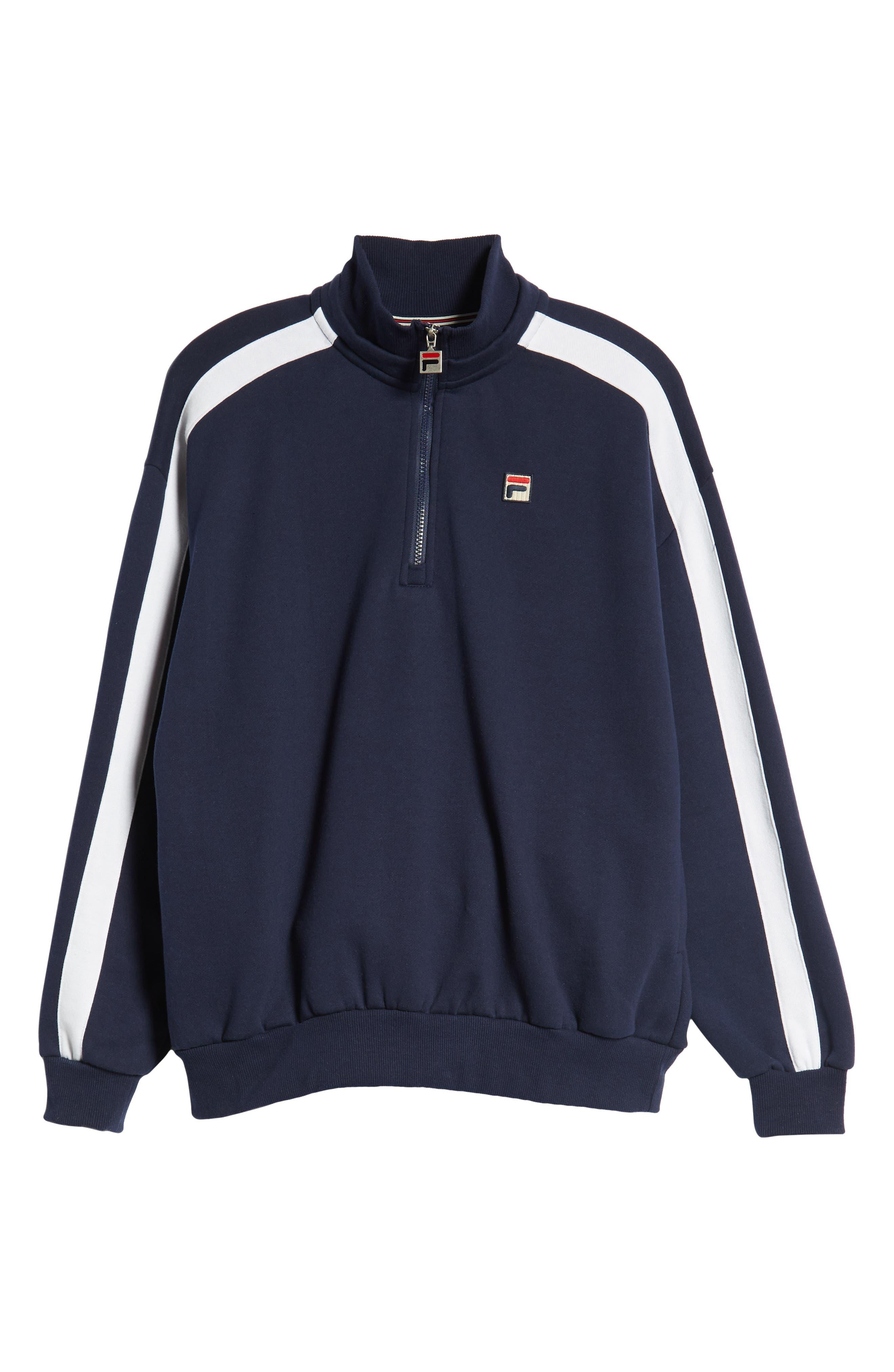 Quarter Zip Sweatshirt,                             Alternate thumbnail 6, color,                             PEACOAT/ WHITE/ CHINESE RED