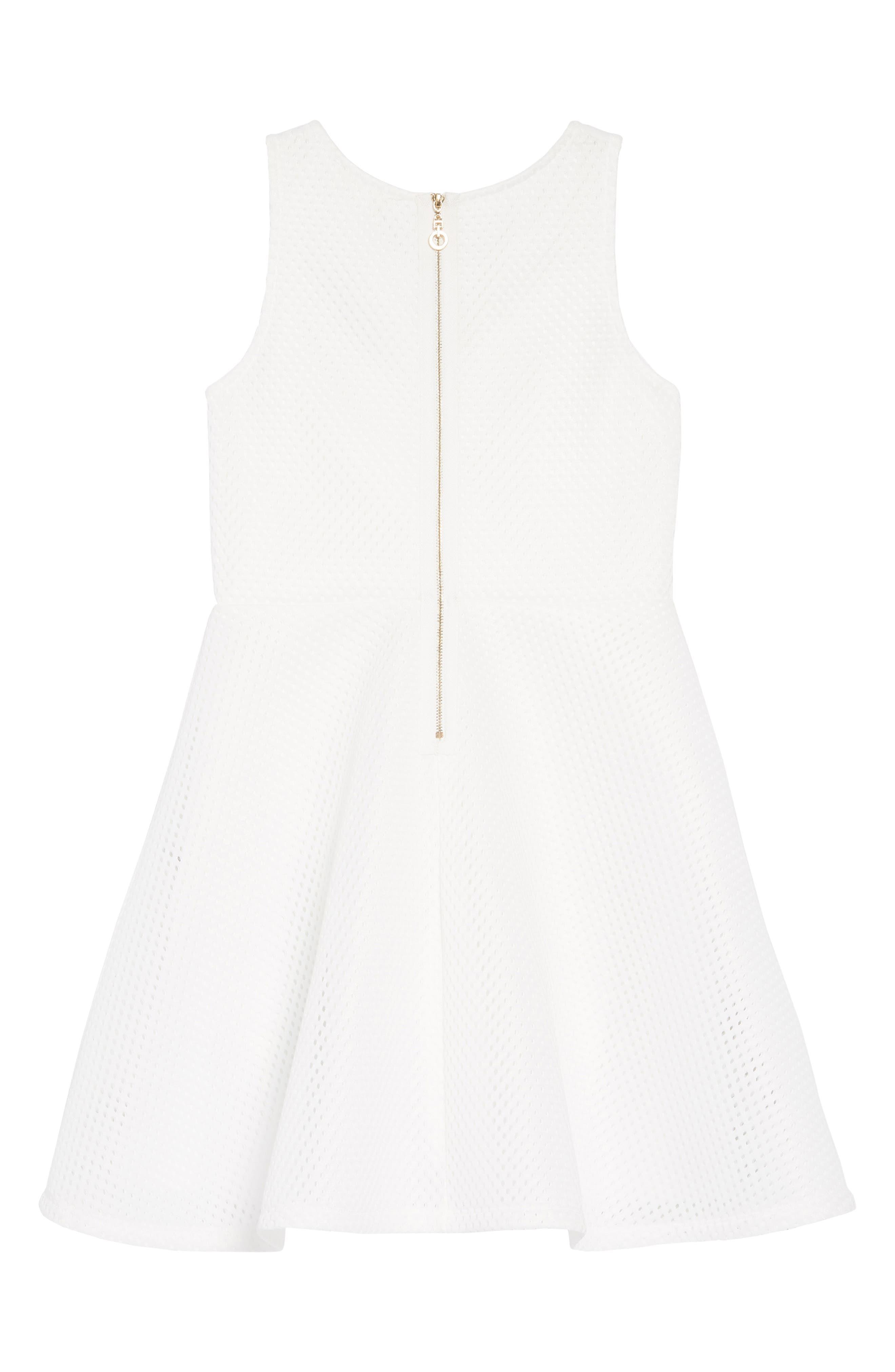 HANNAH BANANA,                             Embellished Techno Mesh Dress,                             Alternate thumbnail 2, color,                             WHITE