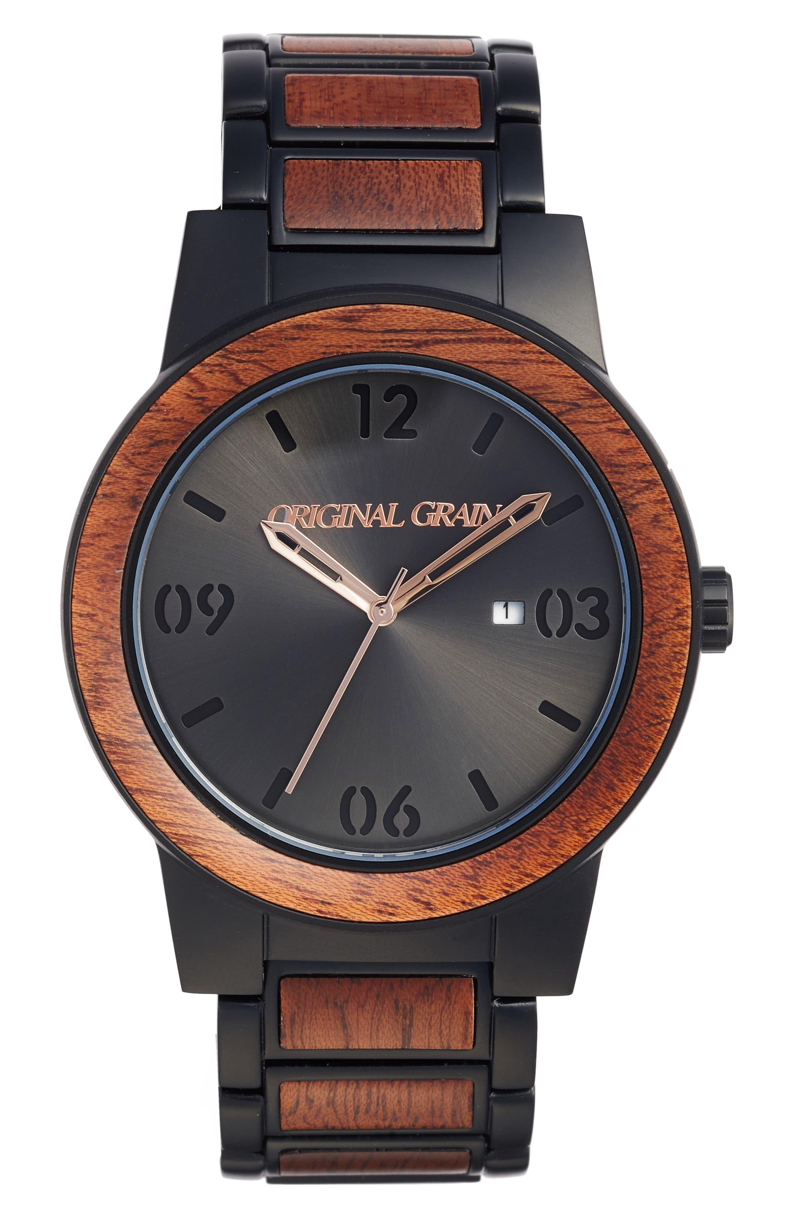 The Barrel Bracelet Watch, 47mm,                             Main thumbnail 1, color,                             MATTE BLACK/ SAPELE WOOD