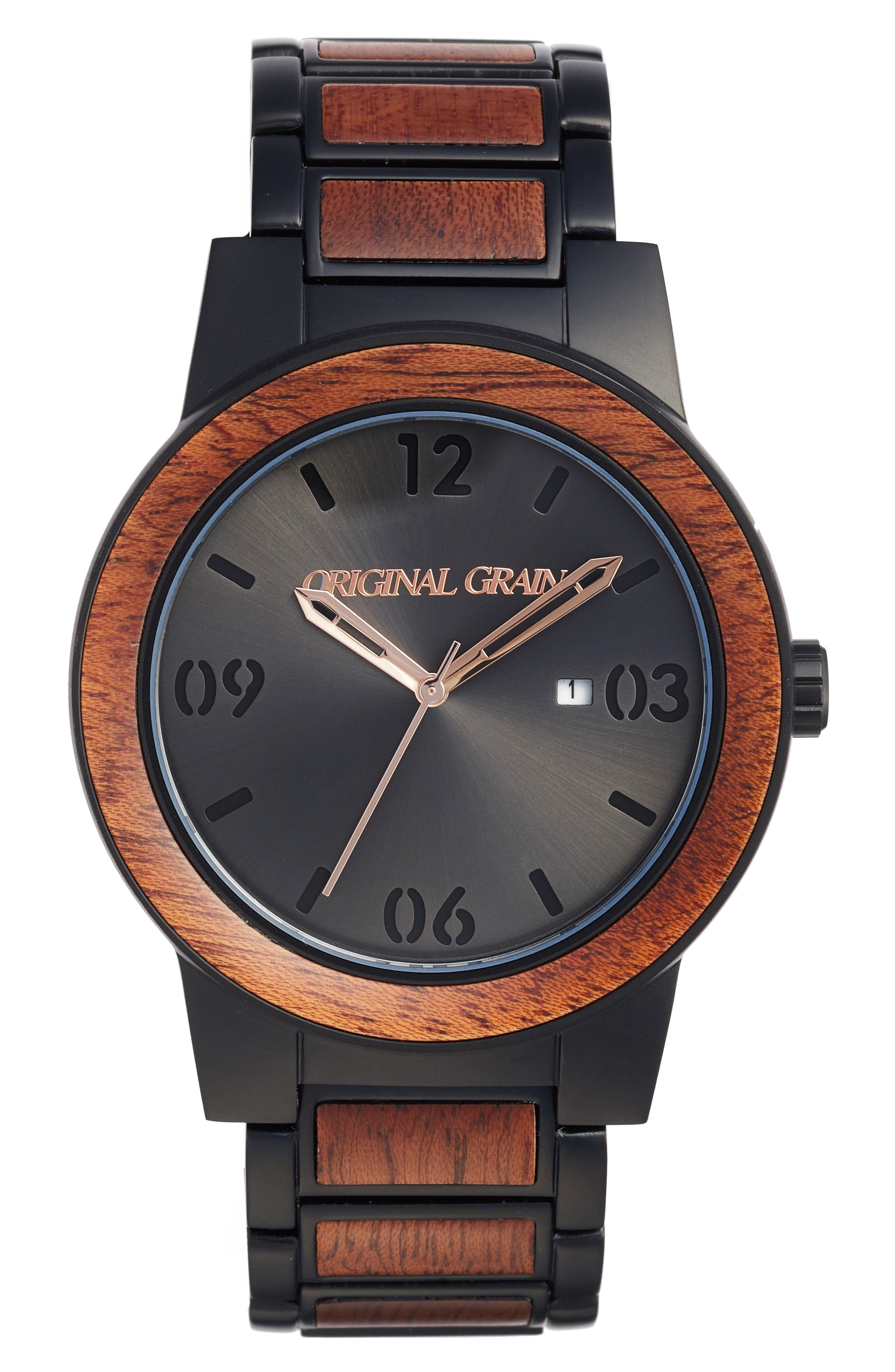 The Barrel Bracelet Watch, 47mm,                         Main,                         color, MATTE BLACK/ SAPELE WOOD