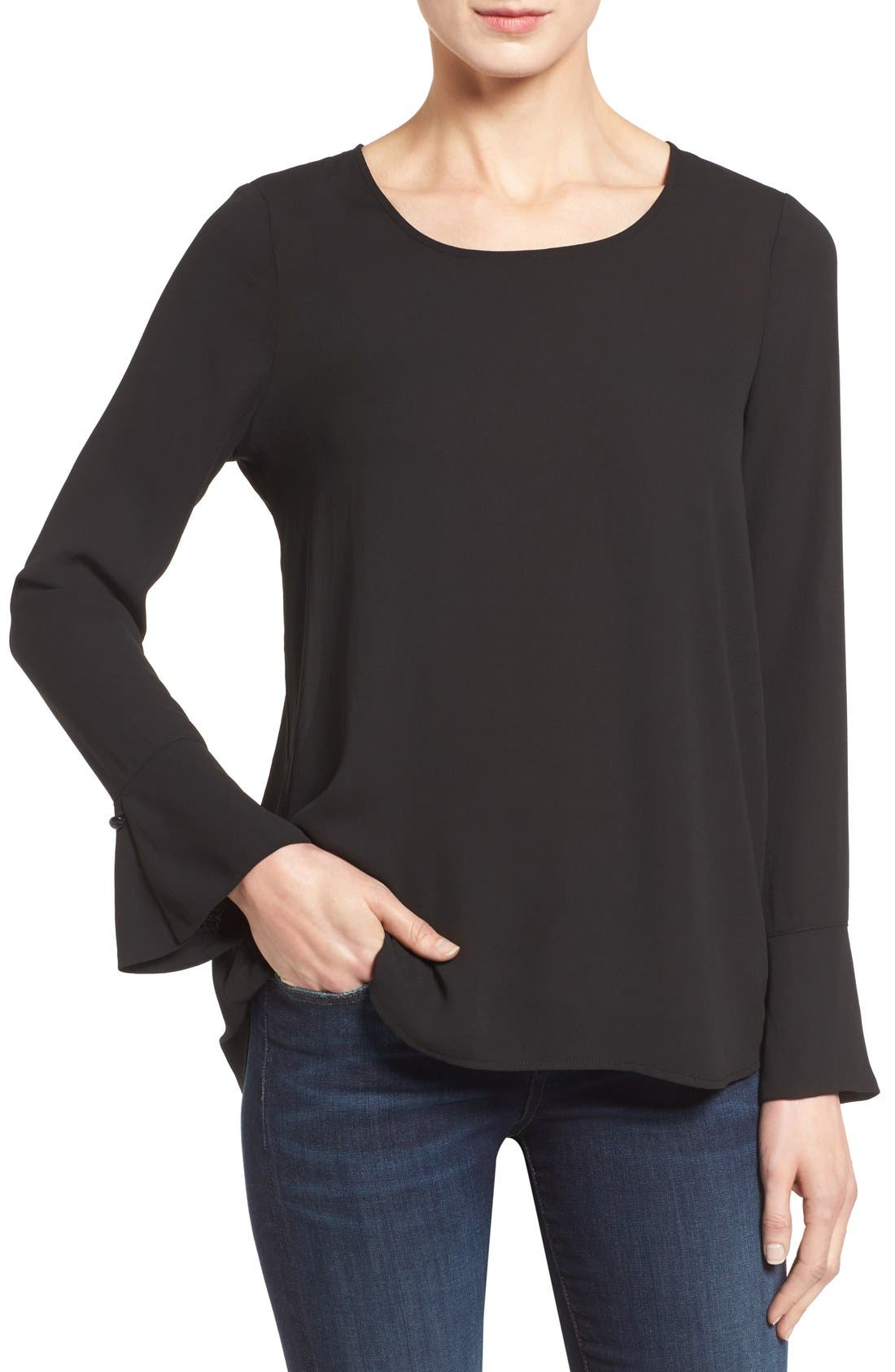 Bell Cuff High/Low Blouse,                         Main,                         color, 001