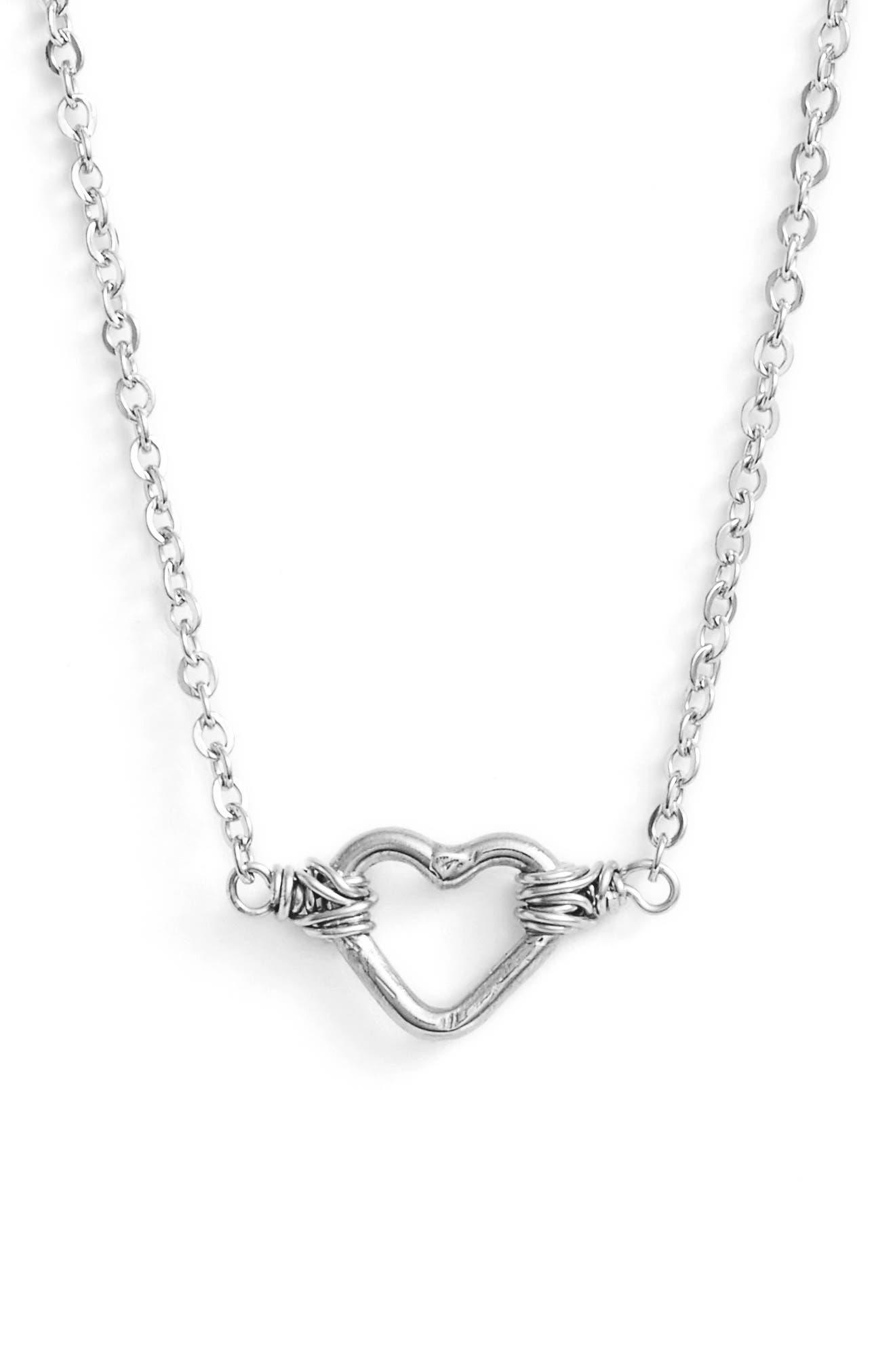 Mini Open Heart Pendant Necklace,                         Main,                         color, 040