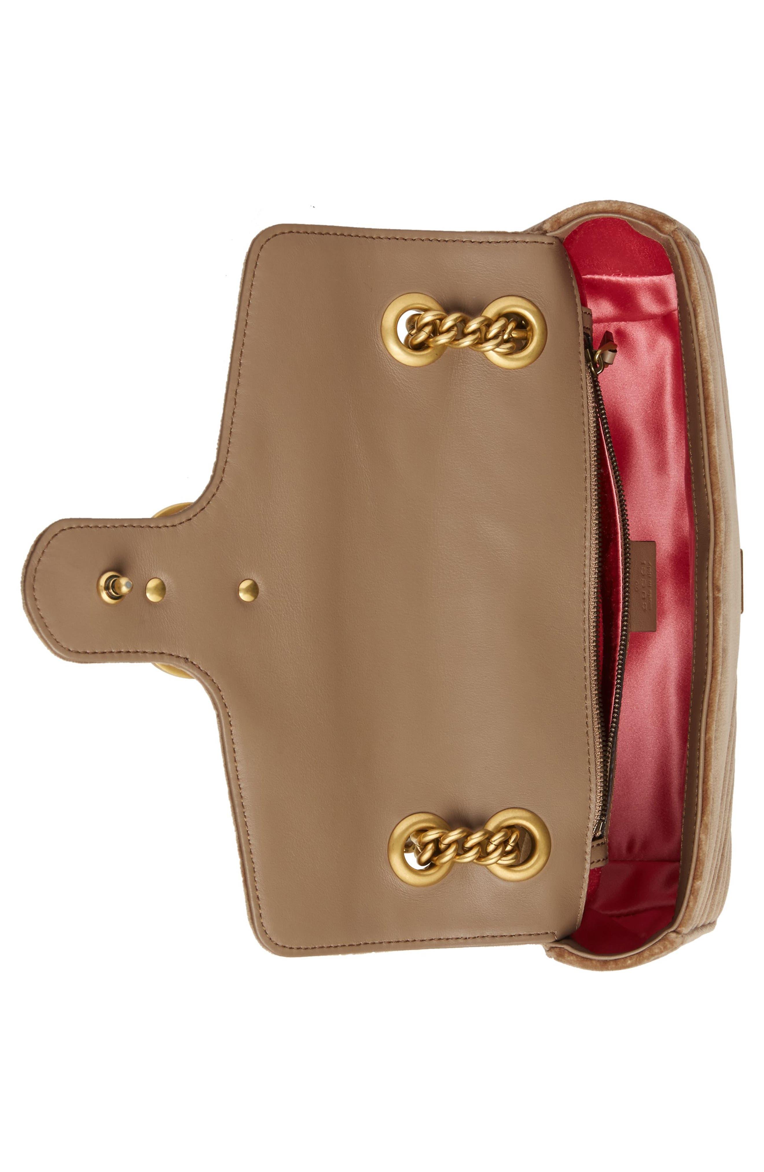 Medium GG Marmont 2.0 Matelassé Velvet Shoulder Bag,                             Alternate thumbnail 3, color,                             TAUPE/ TAUPE