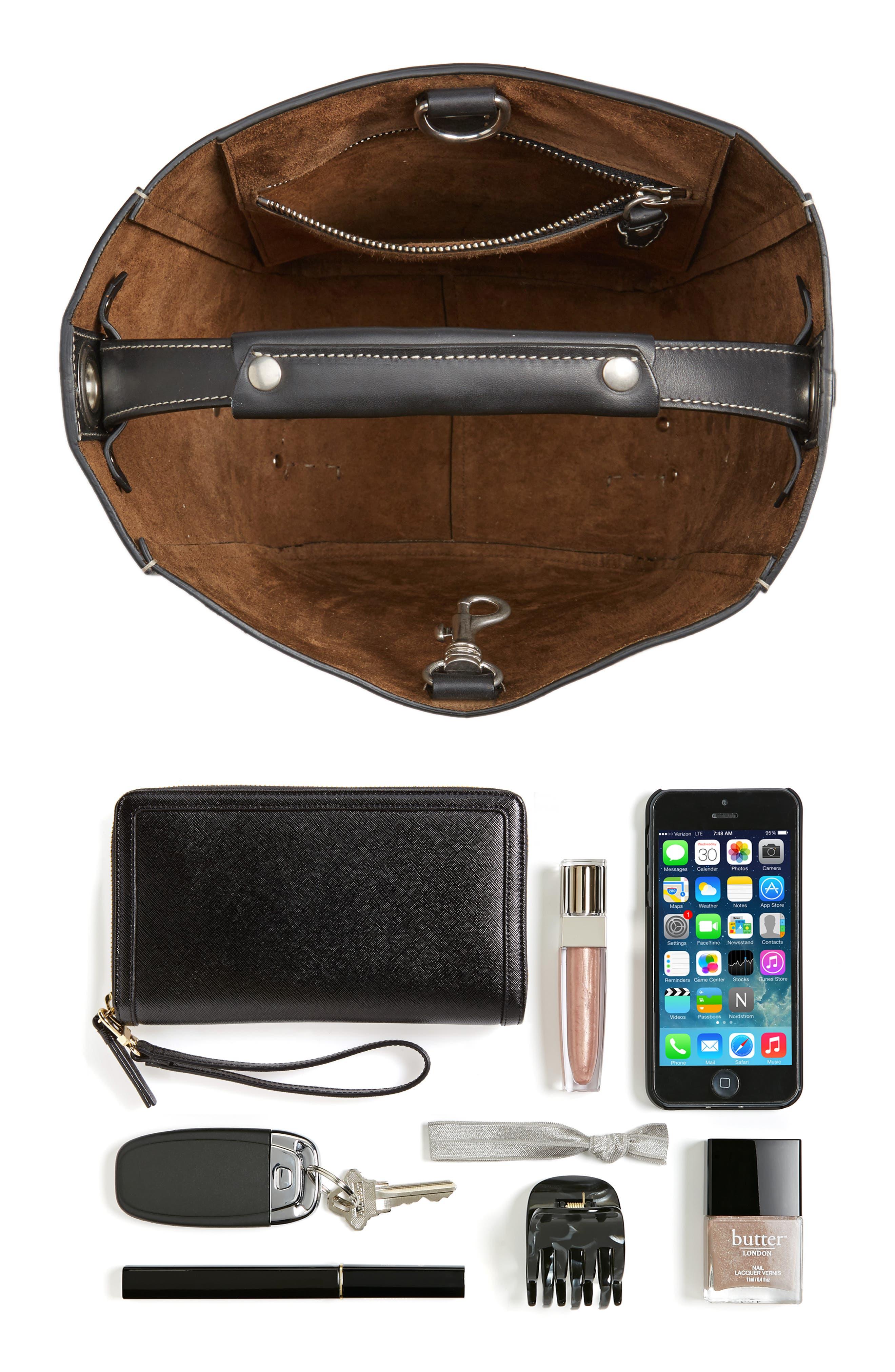 Starlet Leather Bucket Bag,                             Alternate thumbnail 7, color,                             BLACK