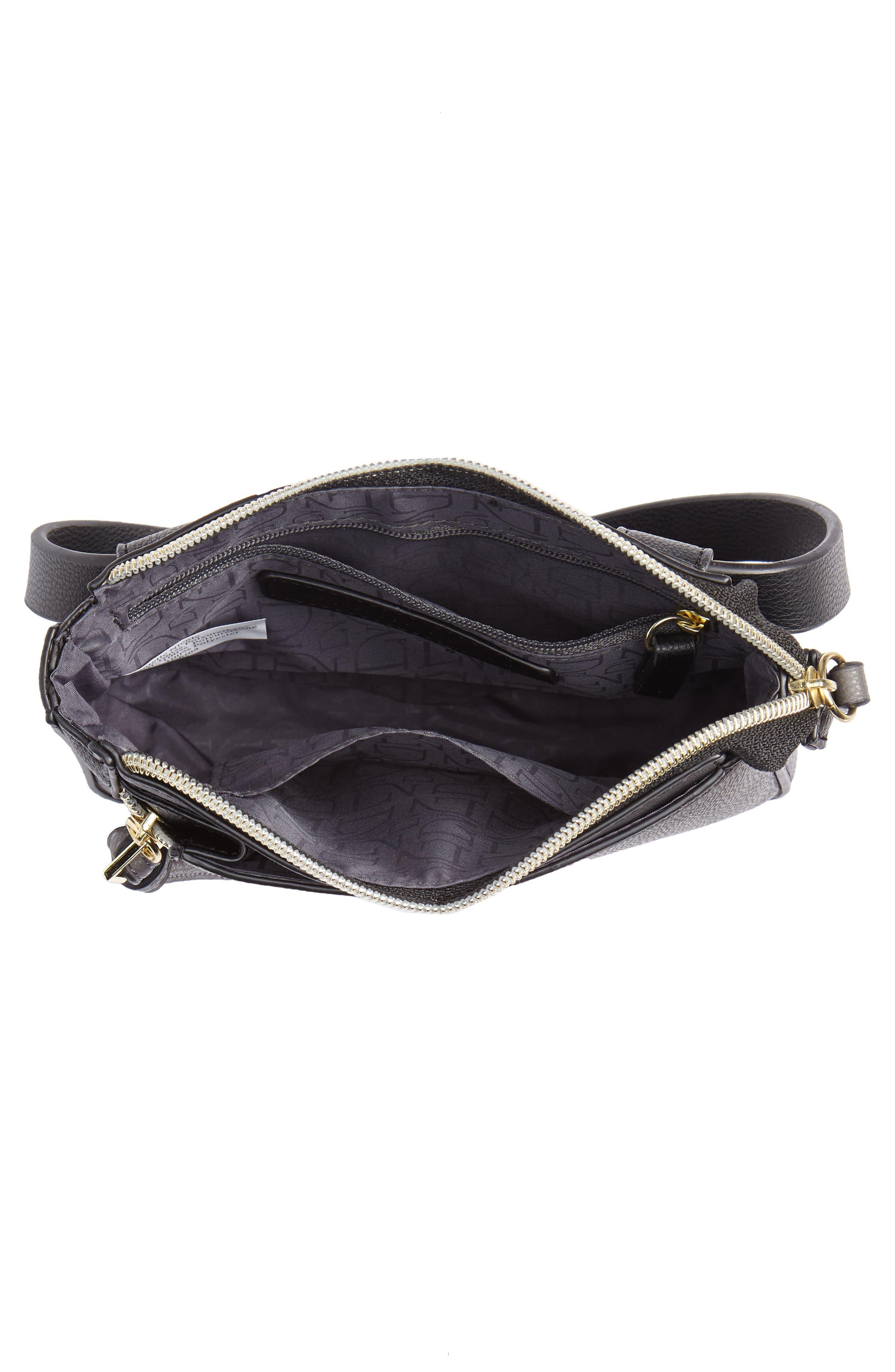 Elia Faux Leather Belt Bag,                             Alternate thumbnail 5, color,                             BLACK