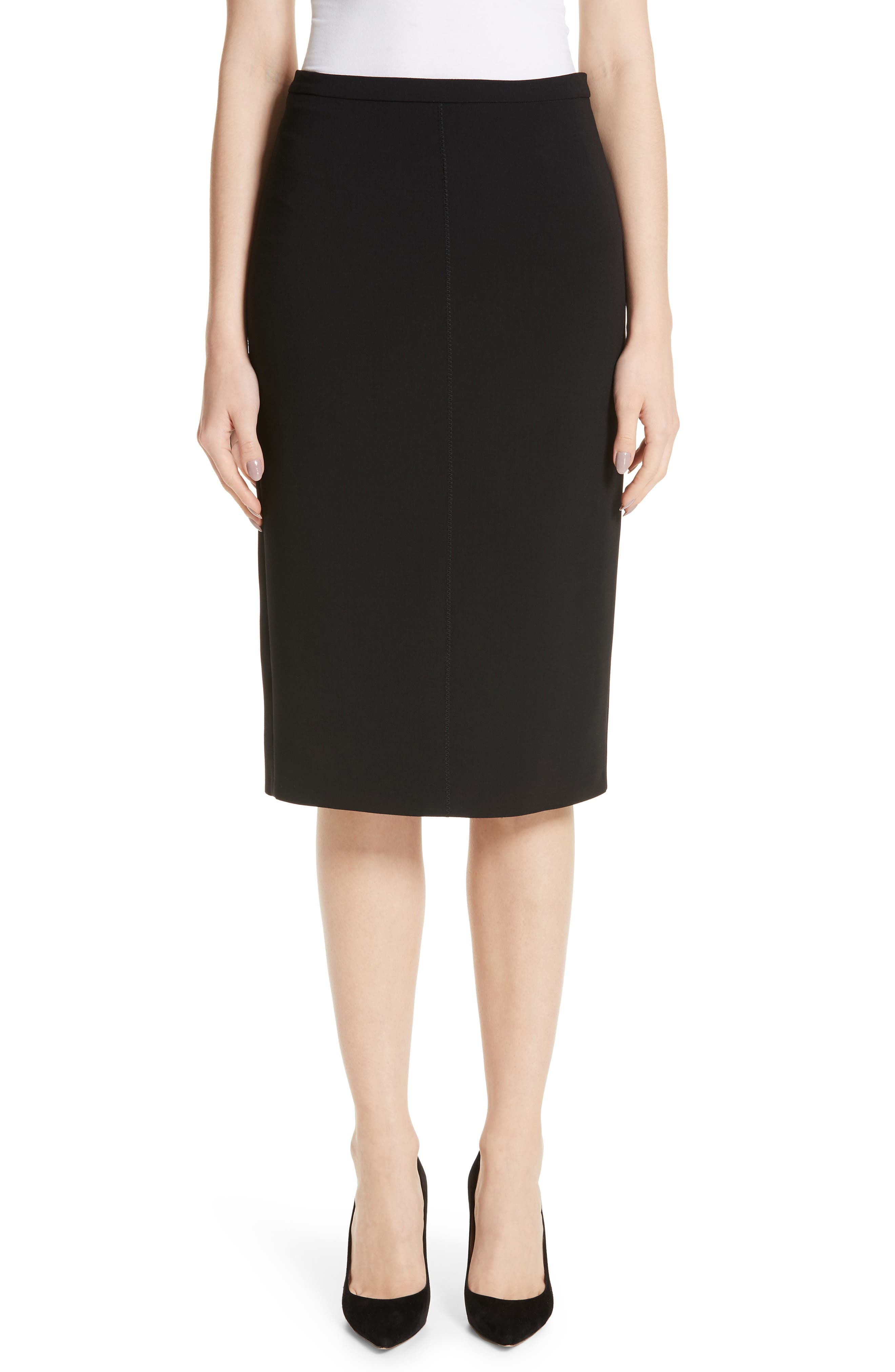 Ornati Pleat Back Skirt in Black