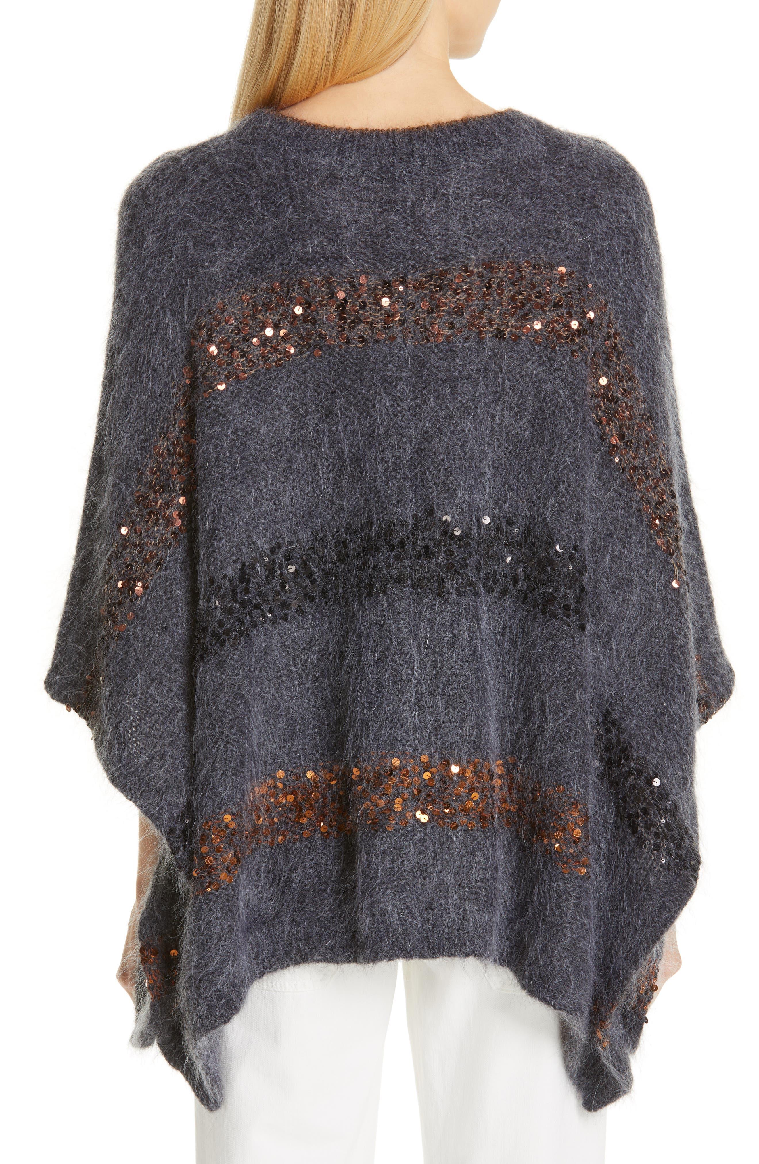 BRUNELLO CUCINELLI,                             Sequin Stripe Poncho Sweater,                             Alternate thumbnail 2, color,                             ANTHRACITE