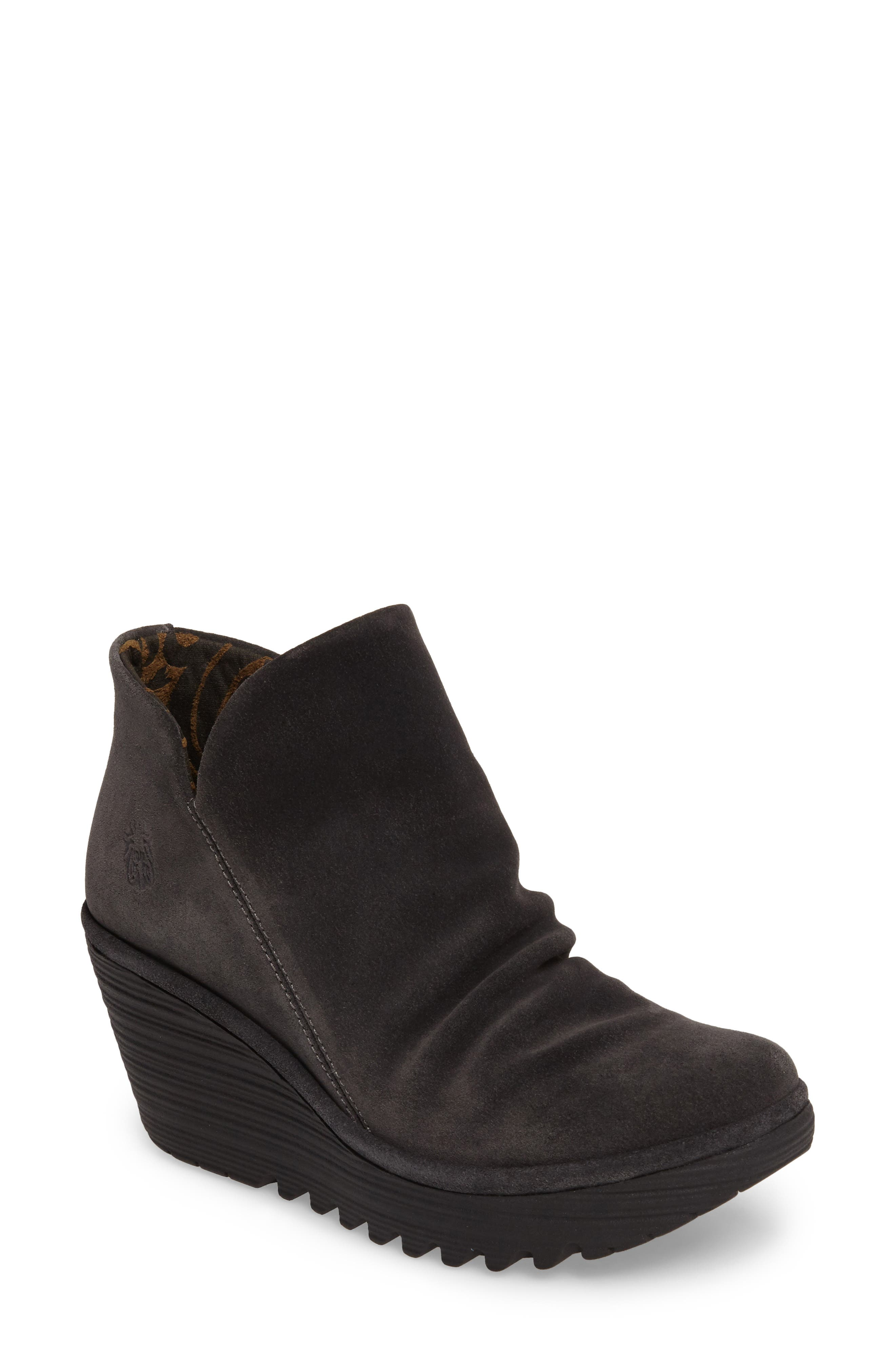 'Yip' Wedge Bootie,                             Main thumbnail 1, color,                             BLACK