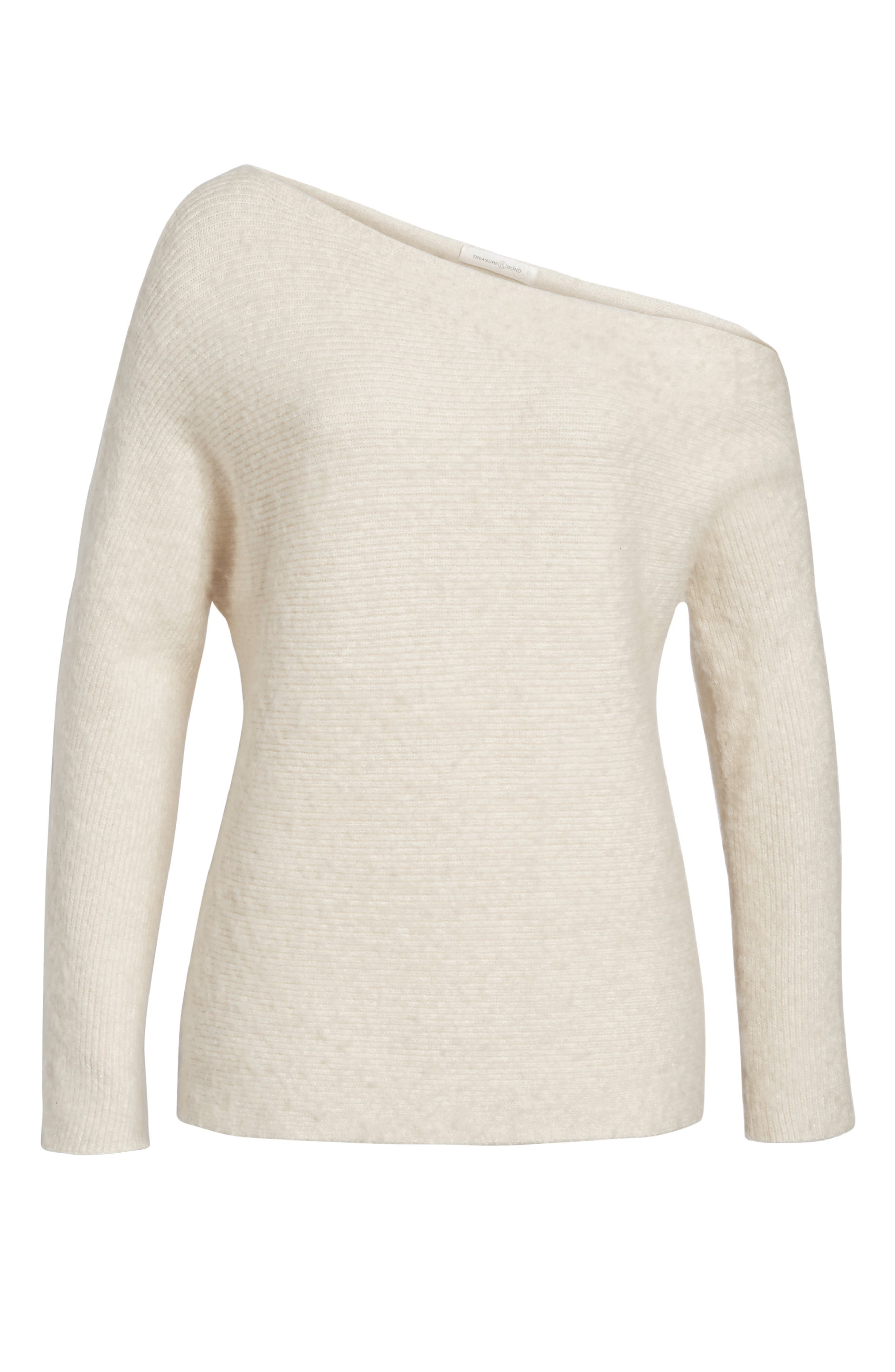 TREASURE & BOND,                             One-Shoulder Ribbed Sweater,                             Alternate thumbnail 6, color,                             BEIGE OATMEAL LIGHT HEATHER