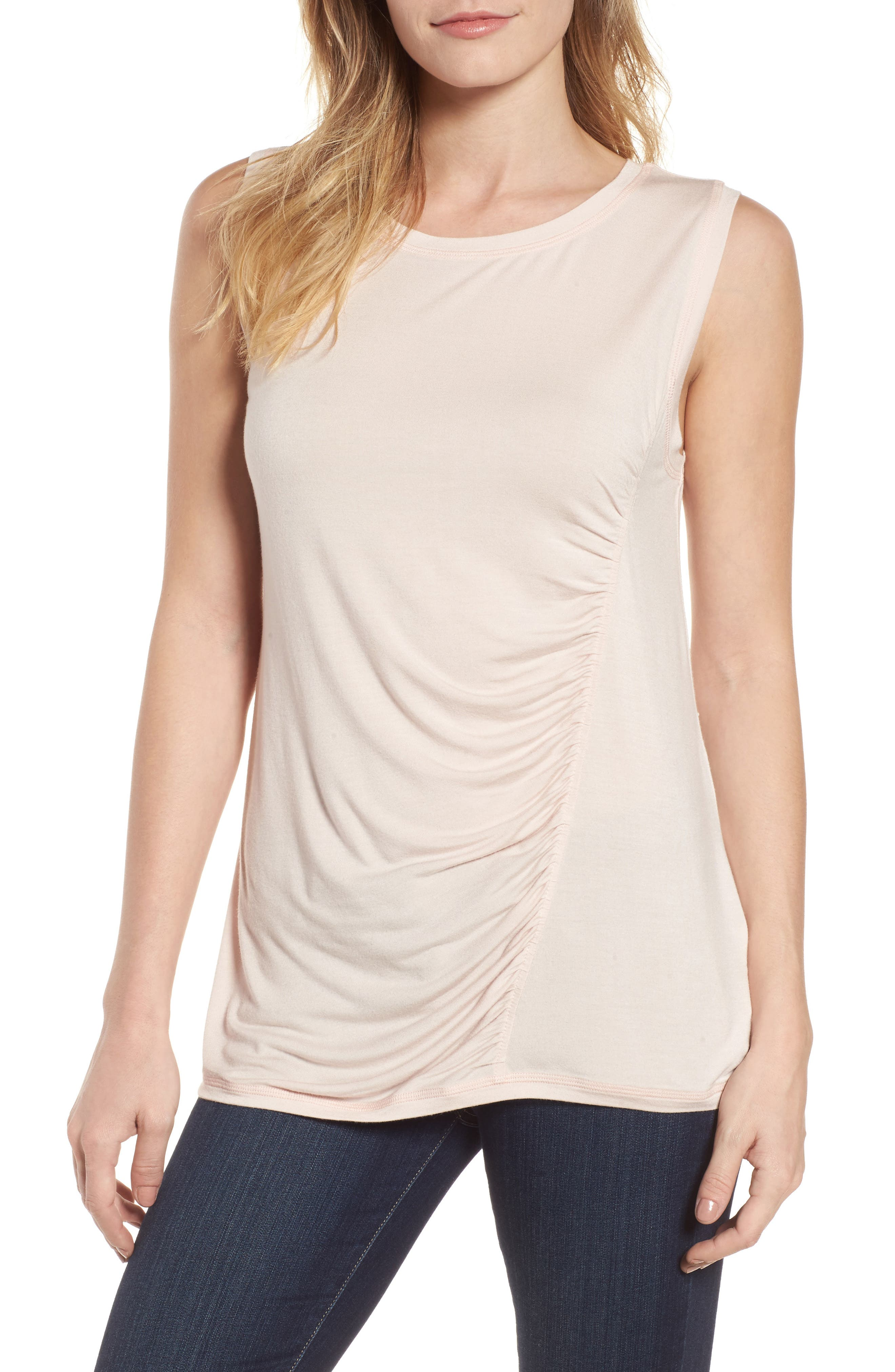 Off-Duty Shirred Sleeveless Tee,                             Main thumbnail 5, color,
