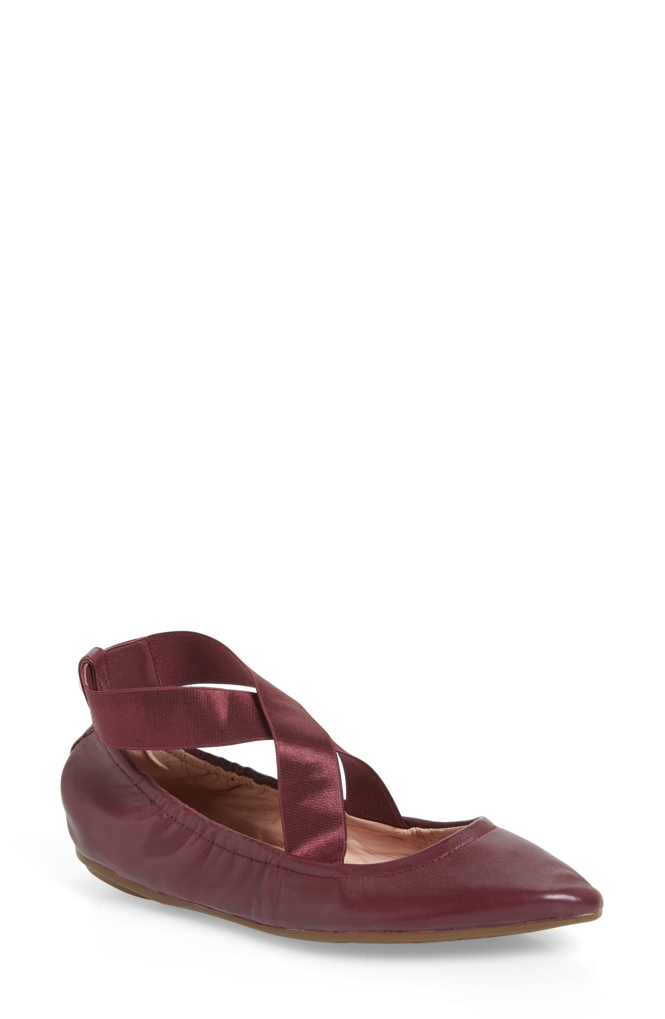 Taryn Rose Edina Strappy Ballet Flat, Burgundy