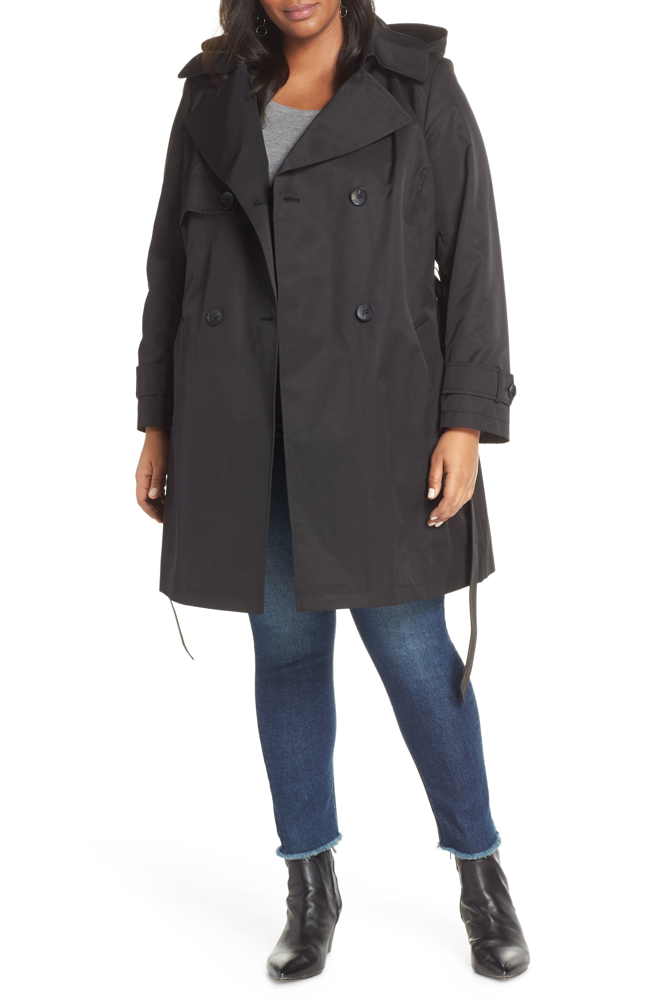 HALOGEN<SUP>®</SUP> Double Breasted Hooded Trench Coat, Main, color, BLACK
