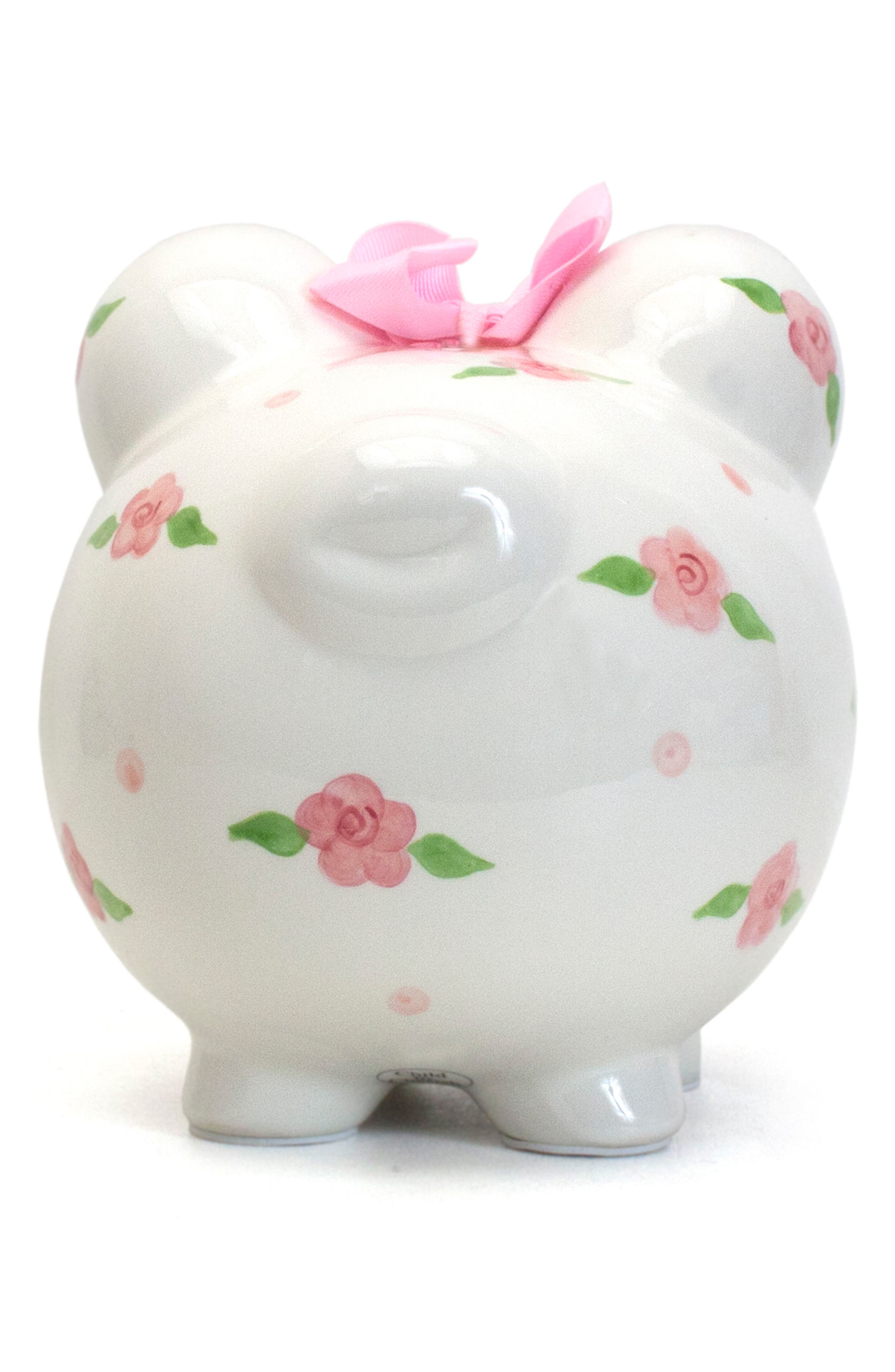 Embellished Piggy Bank,                             Alternate thumbnail 3, color,                             WHITE