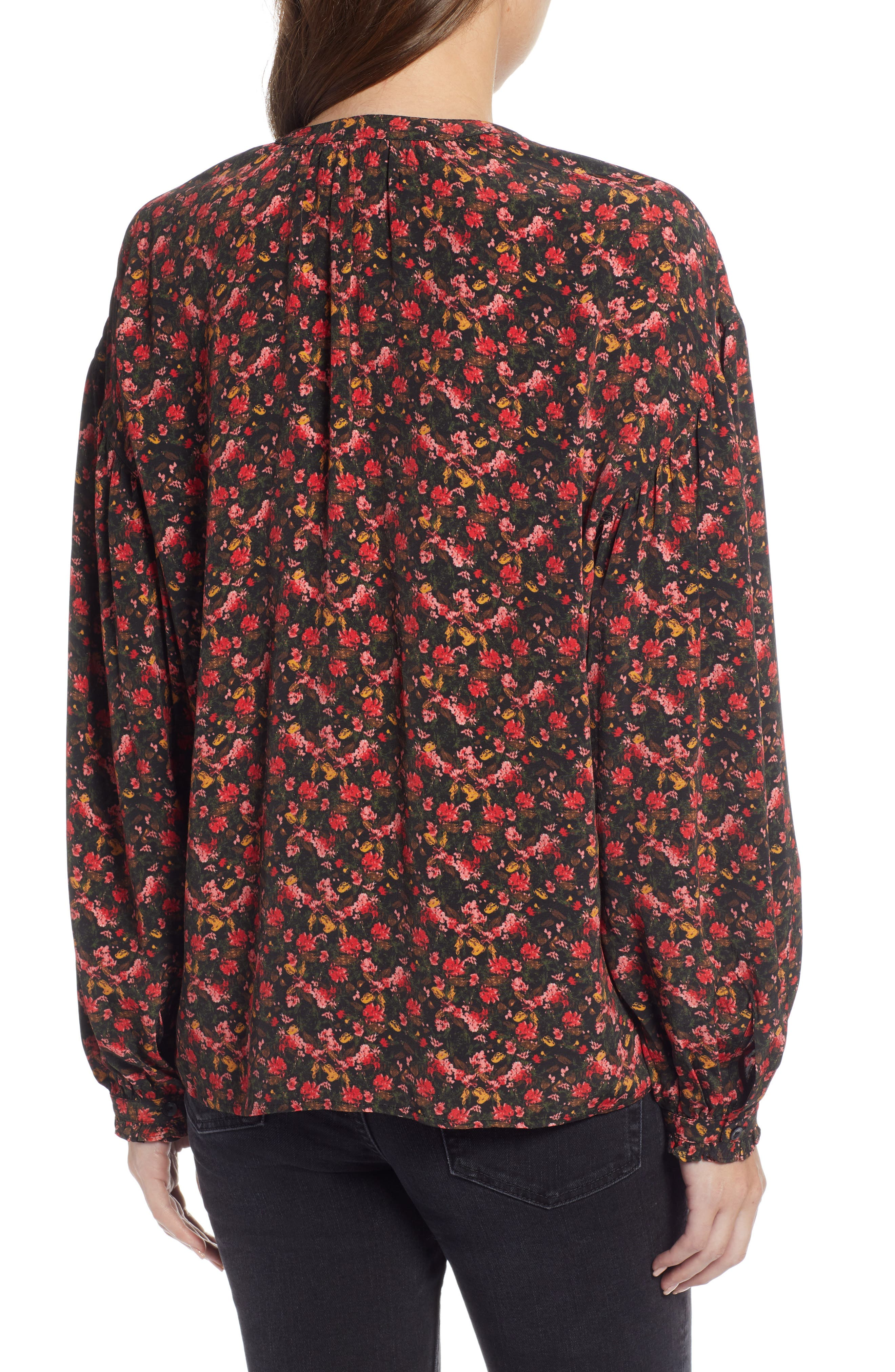 Easy Volume Top,                             Alternate thumbnail 3, color,                             RED BLAZE PAINTERLY FLORAL