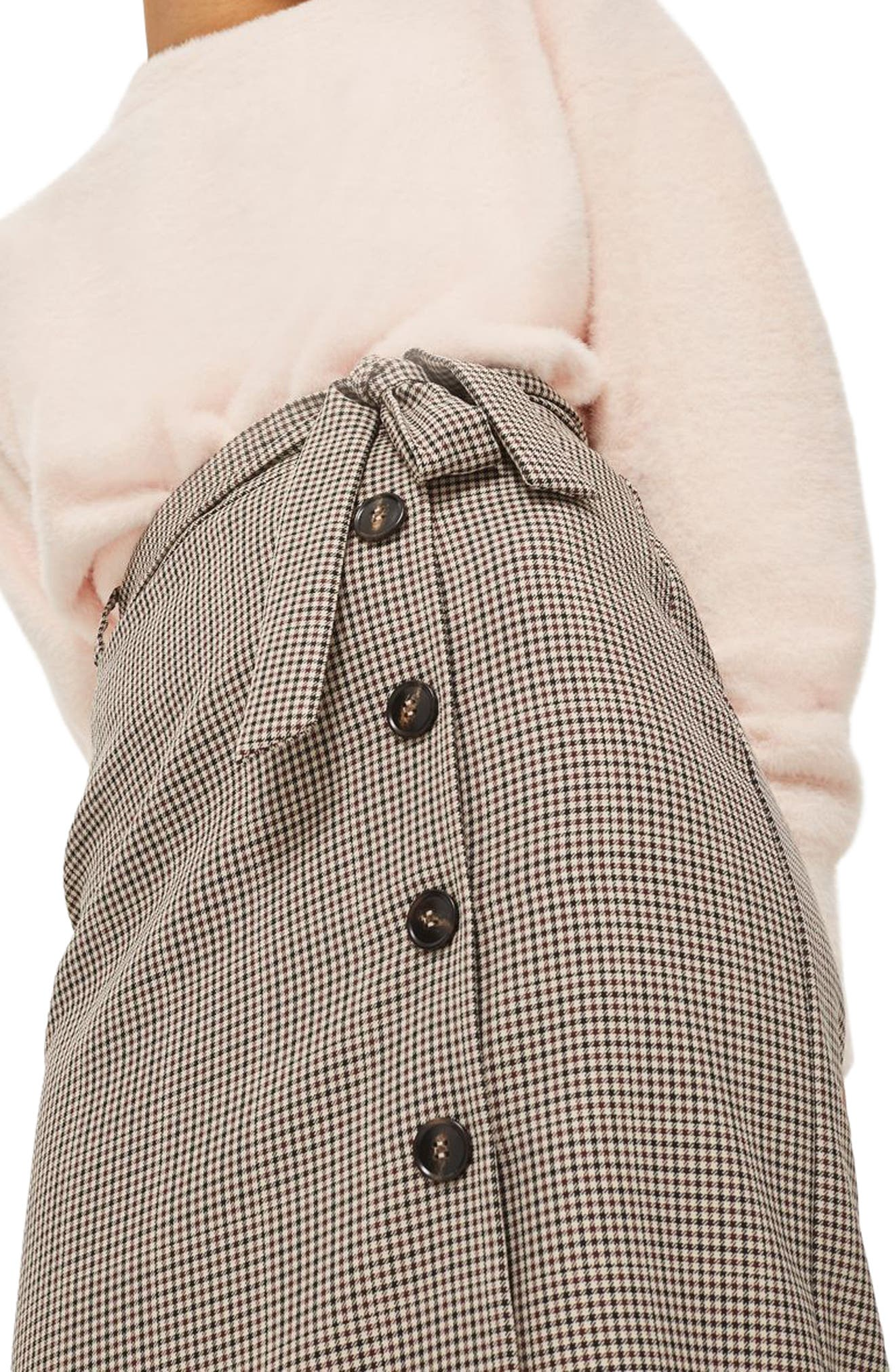 Button Through Check Pencil Skirt,                             Alternate thumbnail 3, color,                             230